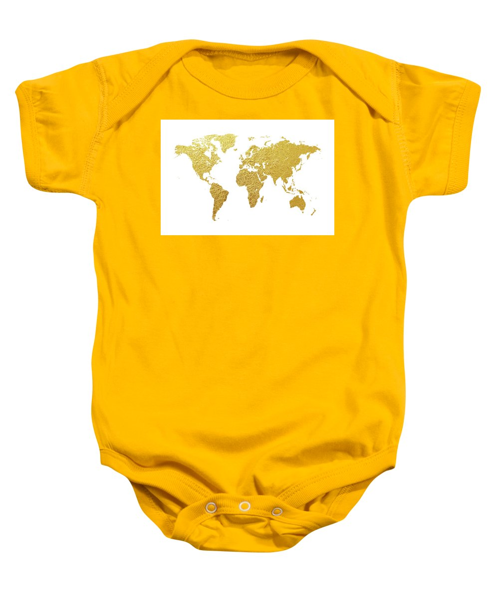 World Map Baby Onesie featuring the digital art World Map Gold Foil by Michael Tompsett