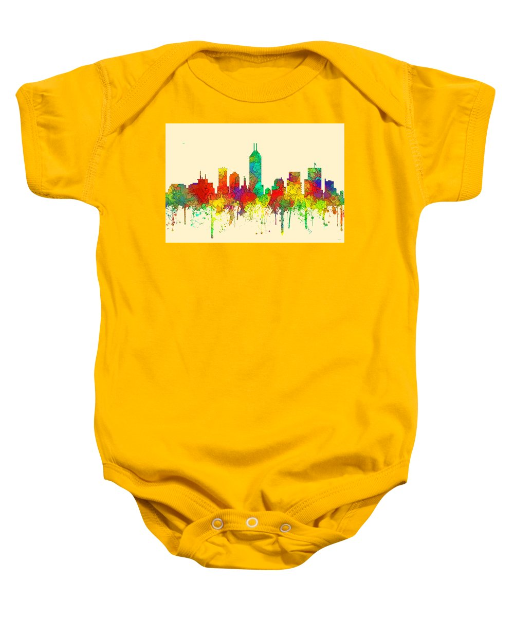 Indiana Indianapolis Skyline Baby Onesie featuring the digital art Indiana Indianapolis Skyline by Marlene Watson