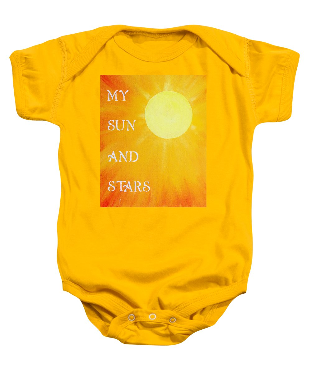 My Sun And Stars Baby Onesie featuring the painting 8x10 My Sun And Stars by Michelle Eshleman