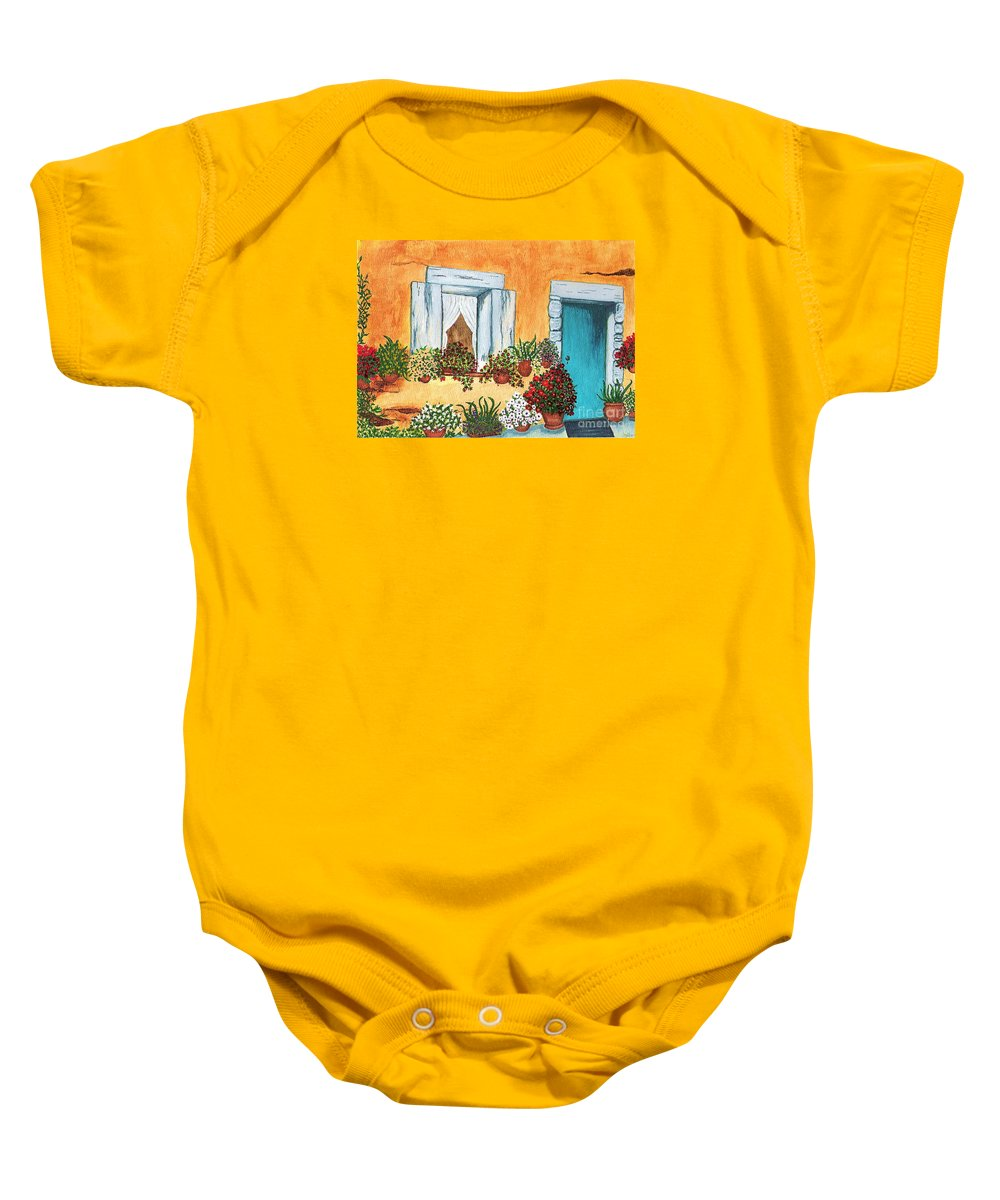 Watercolor Painting Baby Onesie featuring the painting A Cottage In The Village by Patricia Griffin Brett
