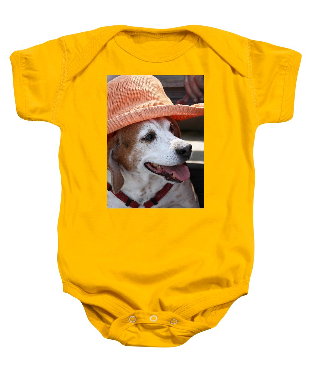 Beagle Baby Onesie featuring the photograph A Hat For Buddy by Bob Slitzan