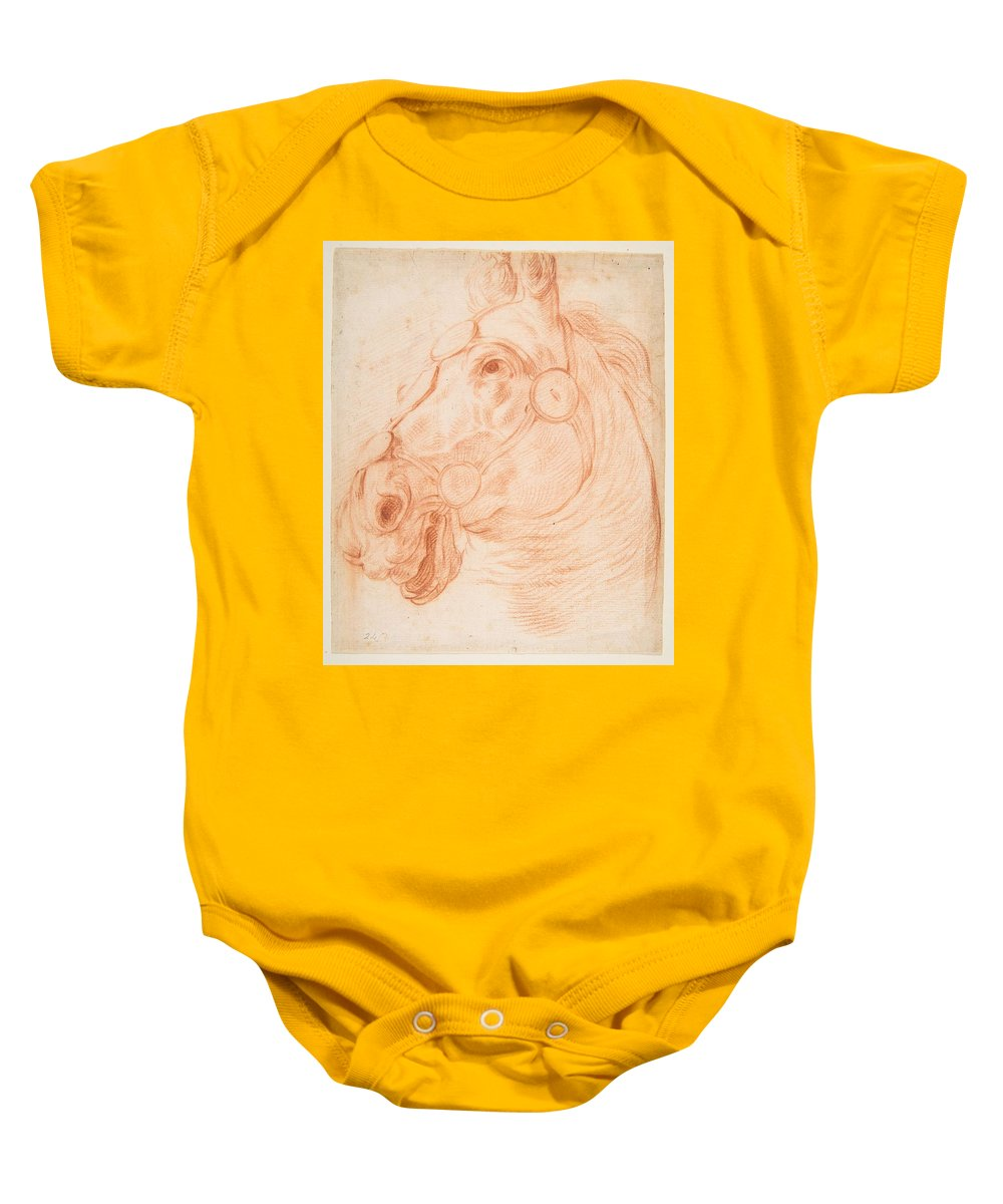 Horse Baby Onesie featuring the painting a Horse's Head by Artistic Rifki