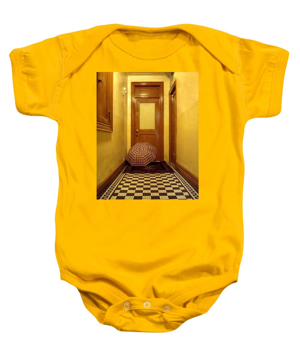 Wood Baby Onesie featuring the photograph A Rainy Day In Astoria by Joseph Mari