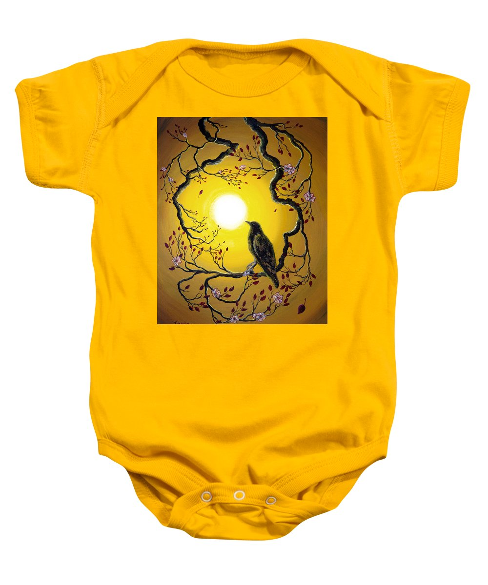 Painting Baby Onesie featuring the painting A Raven Remembers Spring by Laura Iverson