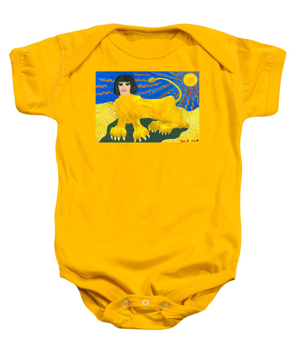 Sue Burgess Baby Onesie featuring the painting A Sphinx by Sushila Burgess