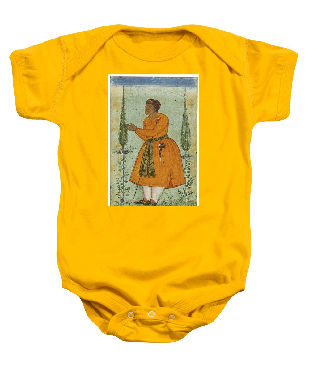 A Standing Portrait Of A Courtier Baby Onesie featuring the painting A Standing Portrait Of A Courtier by Eastern Accents