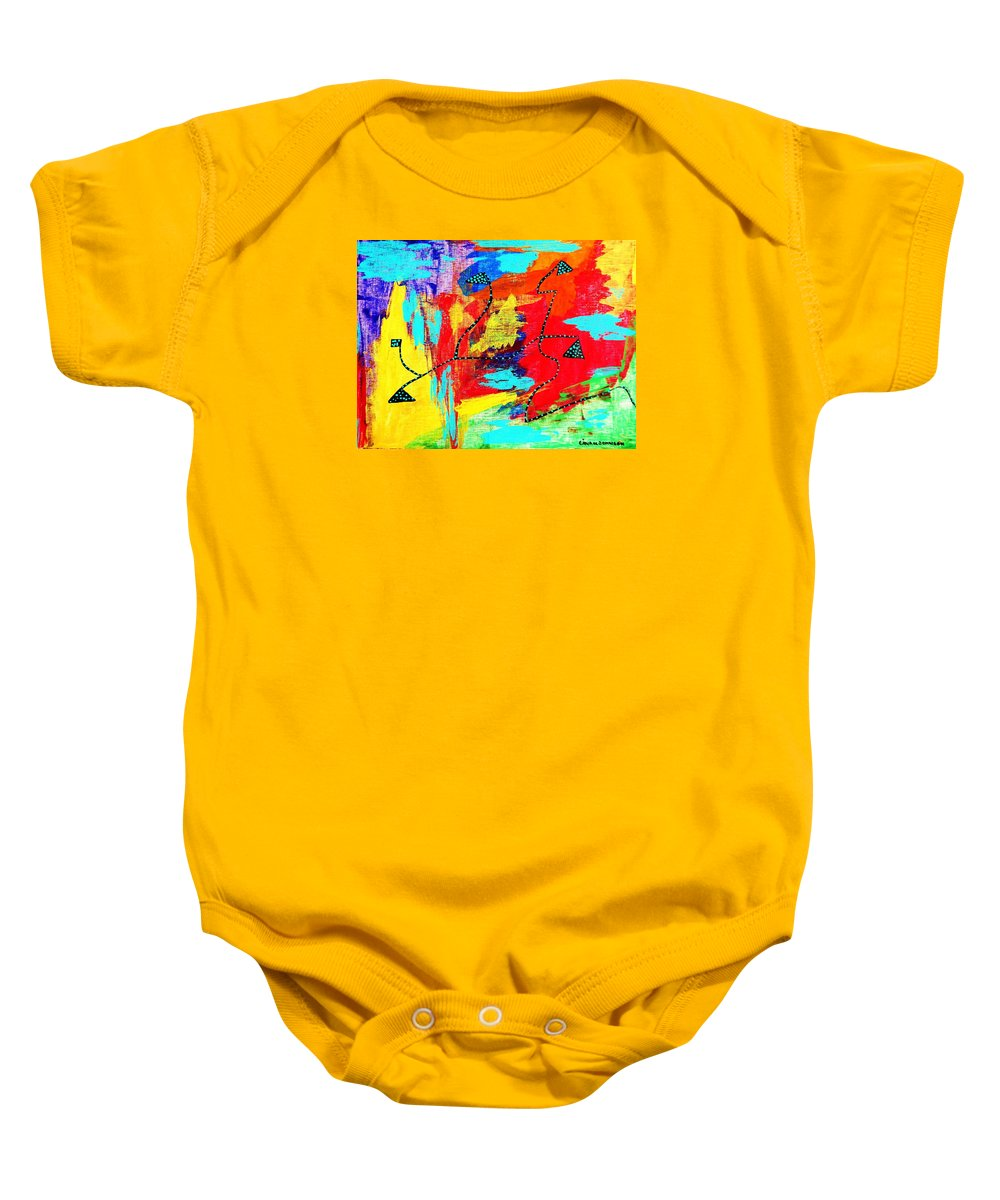 A Way Out Baby Onesie featuring the painting A Way Out To The Light by Gina Nicolae Johnson