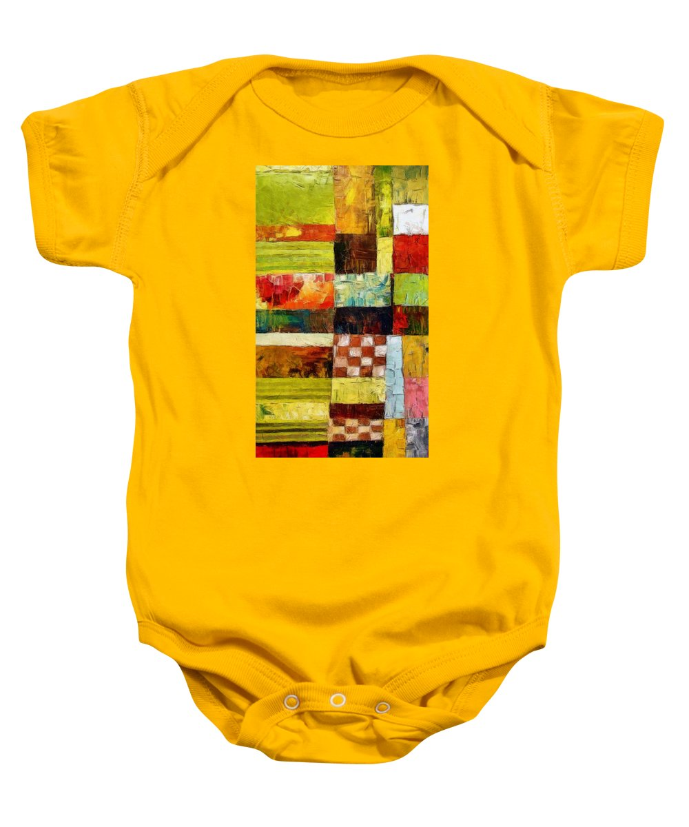 Patchwork Baby Onesie featuring the painting Abstract Color Study With Checkerboard And Stripes by Michelle Calkins