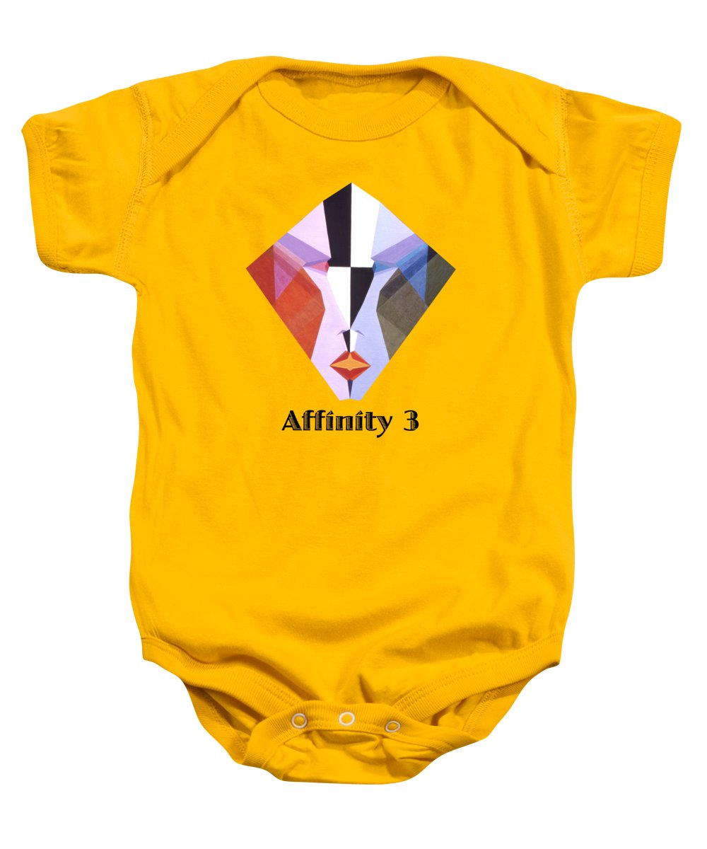 Painting Baby Onesie featuring the painting Affinity 3 text by Michael Bellon