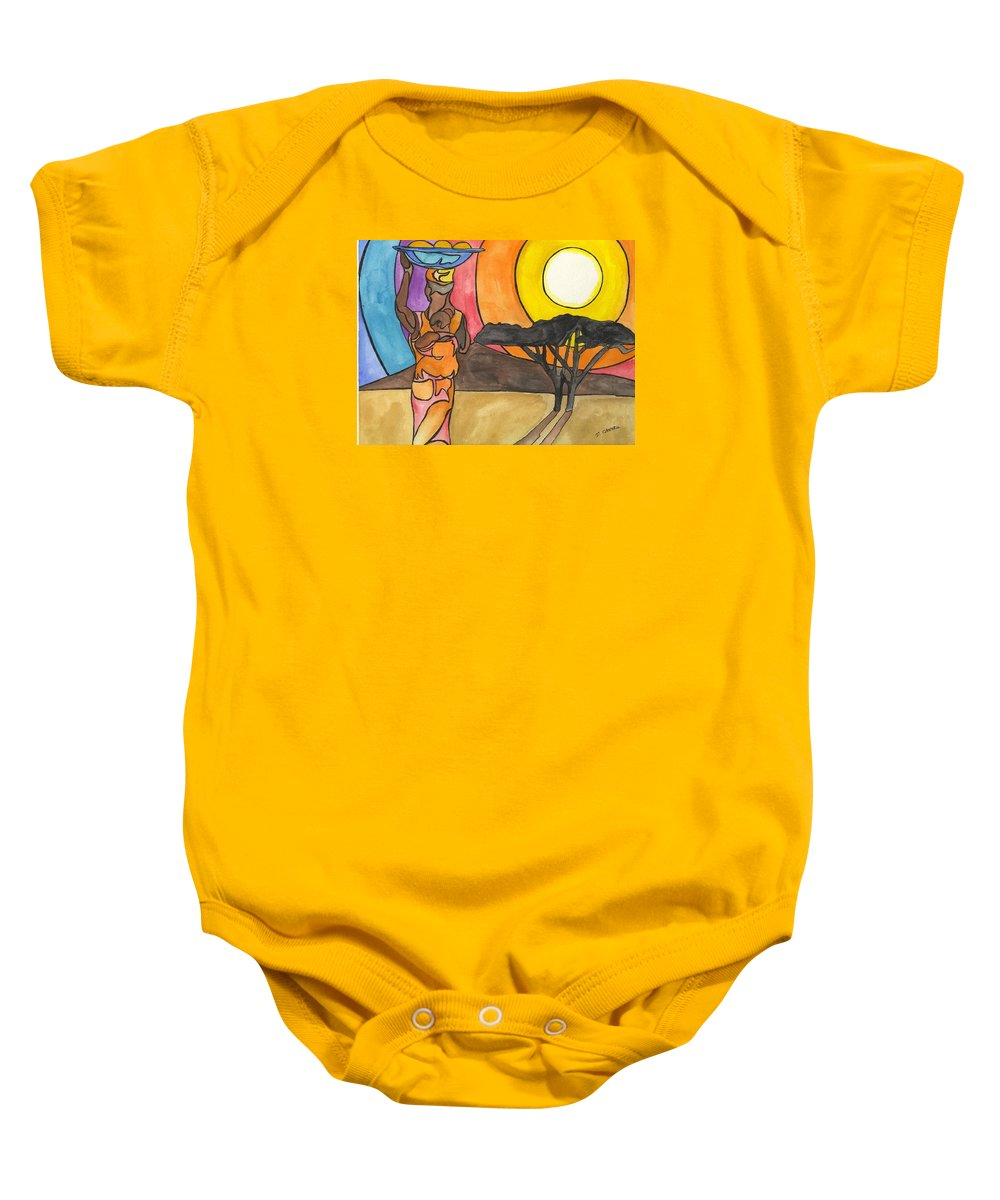 Africa Baby Onesie featuring the digital art Africa Women by Darren Cannell