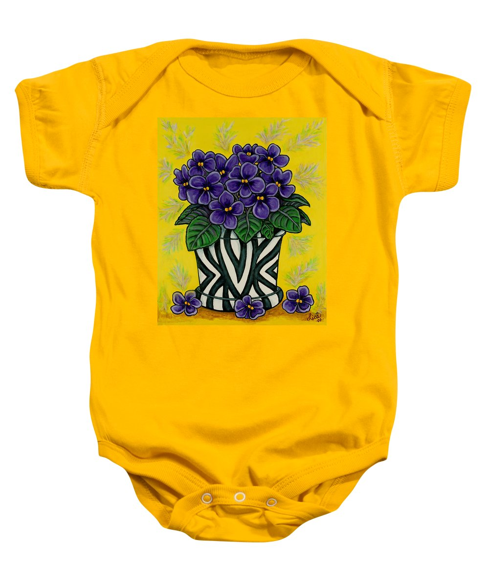 Violets Baby Onesie featuring the painting African Queen by Lisa Lorenz