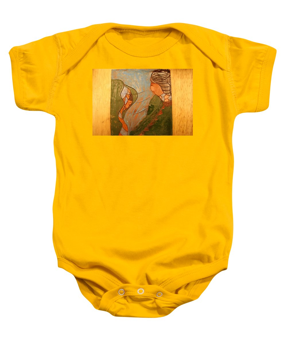 Jesus Baby Onesie featuring the ceramic art African Respect - Tile by Gloria Ssali
