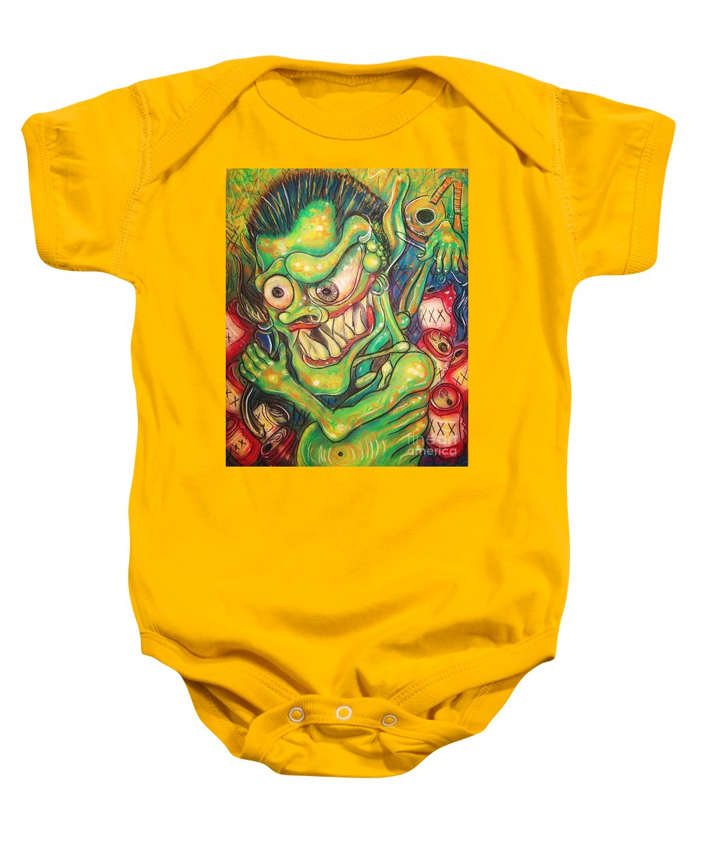 Beer Baby Onesie featuring the painting Alcoholic Demon by Americo Salazar