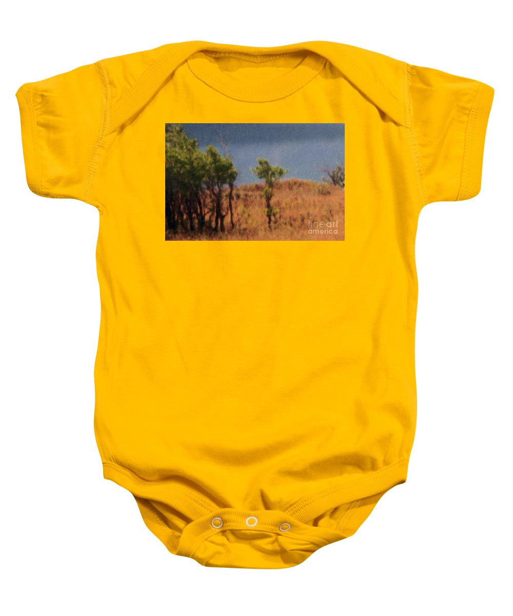 Field Baby Onesie featuring the digital art Along The Lake by Richard Rizzo