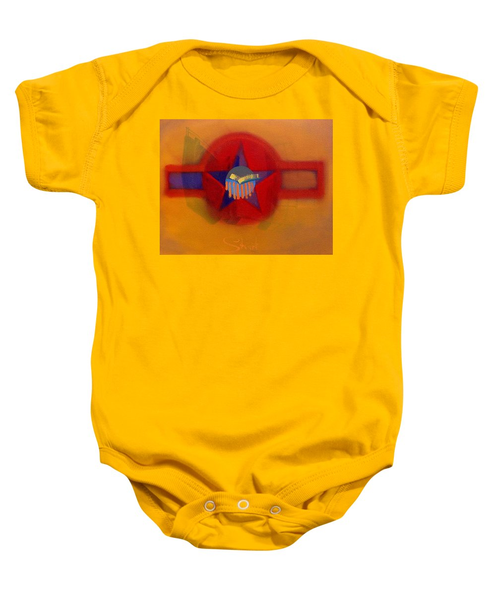 Usaaf Insignia And Idealised Landscape In Union Baby Onesie featuring the painting American Sub Decal by Charles Stuart