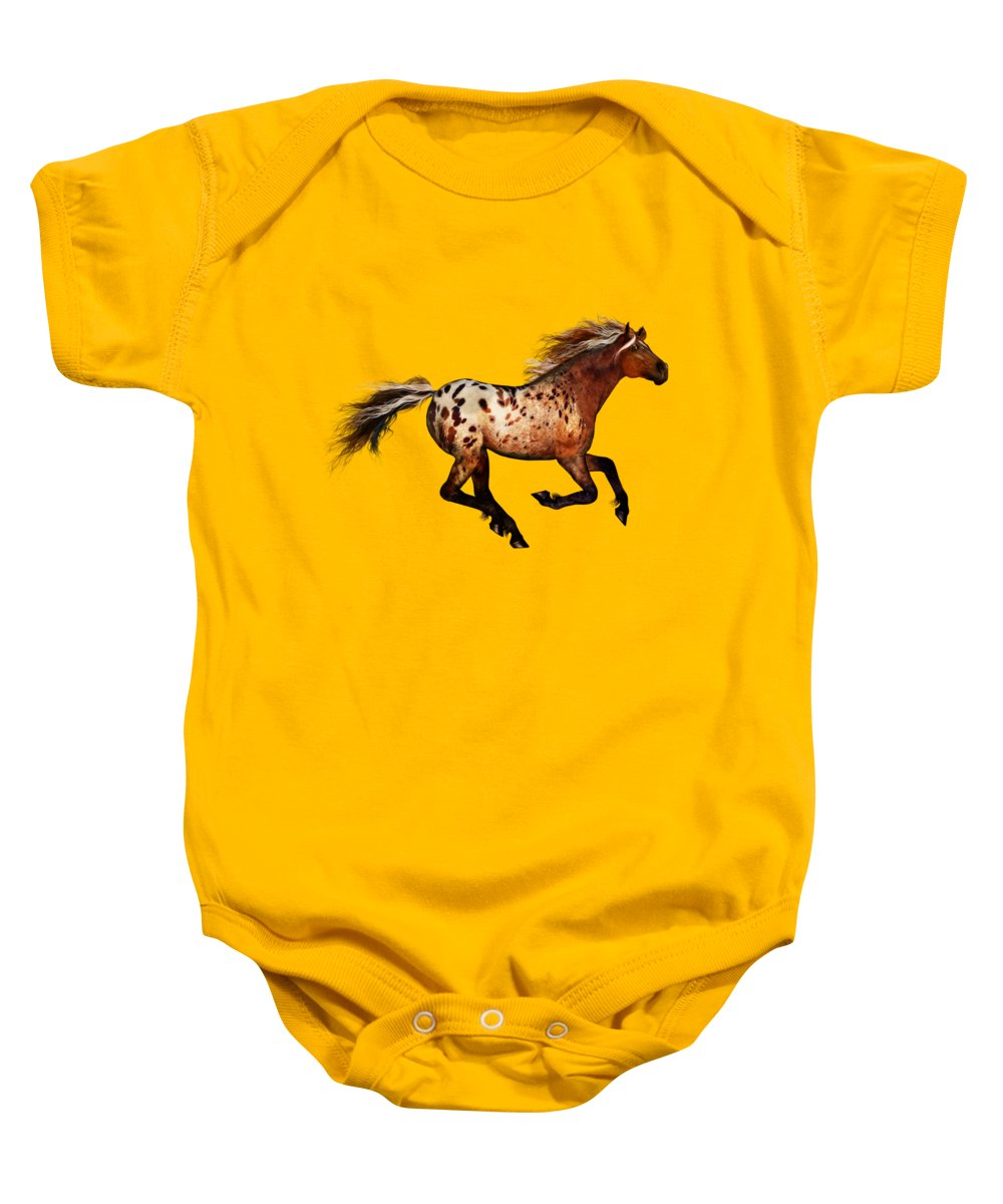 Horse Art Baby Onesie featuring the painting An Appaloosa Called Ginger by Valerie Anne Kelly