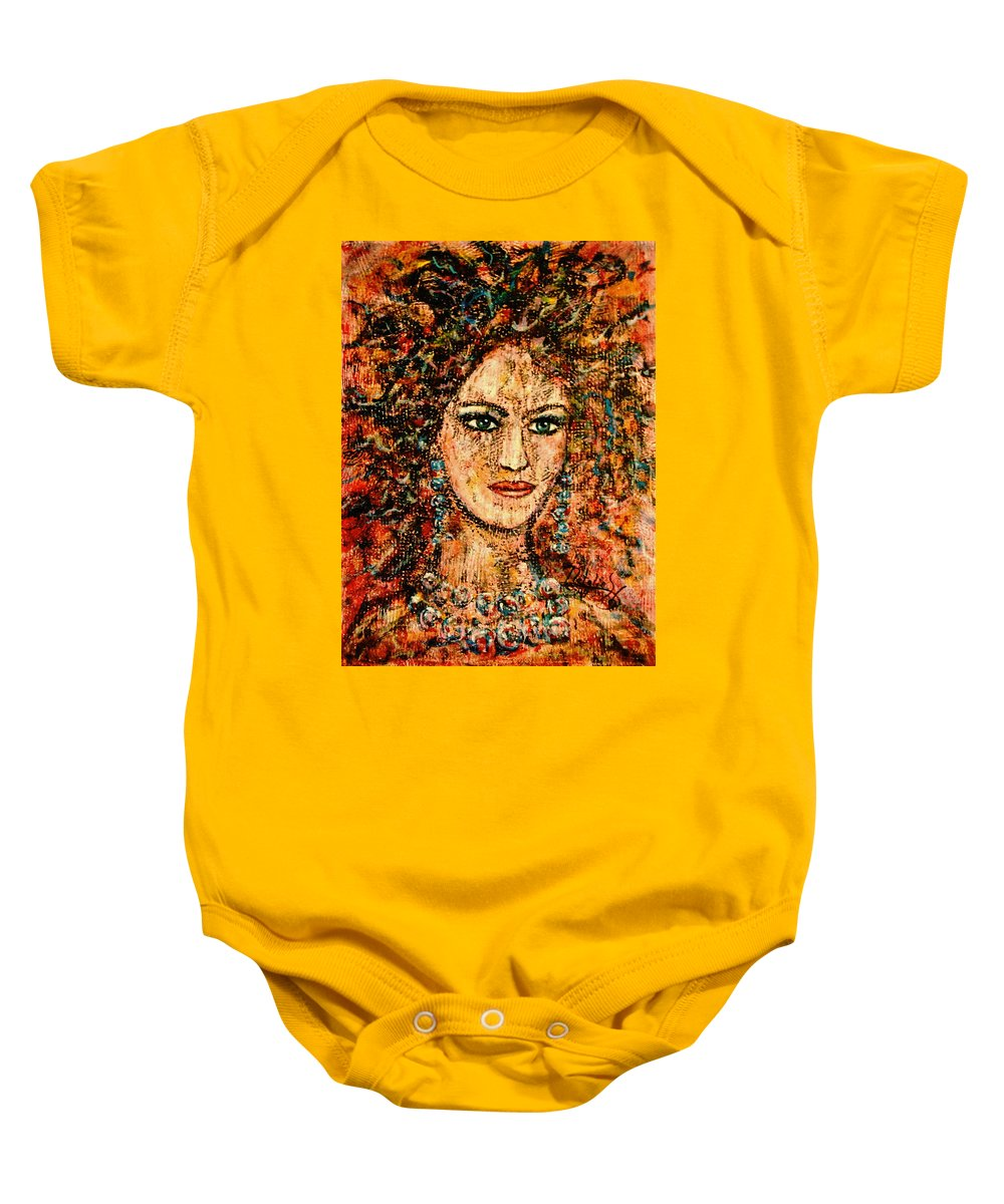 Expressionism Baby Onesie featuring the painting Ancient Woman by Natalie Holland