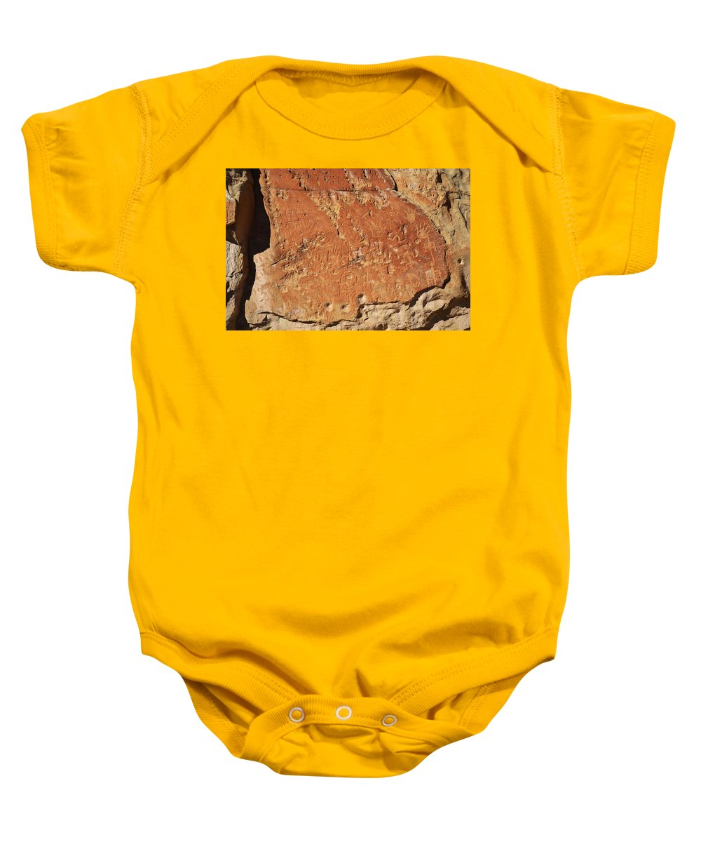 New Mexico Baby Onesie featuring the photograph Ancient Writings by Sean Jungo