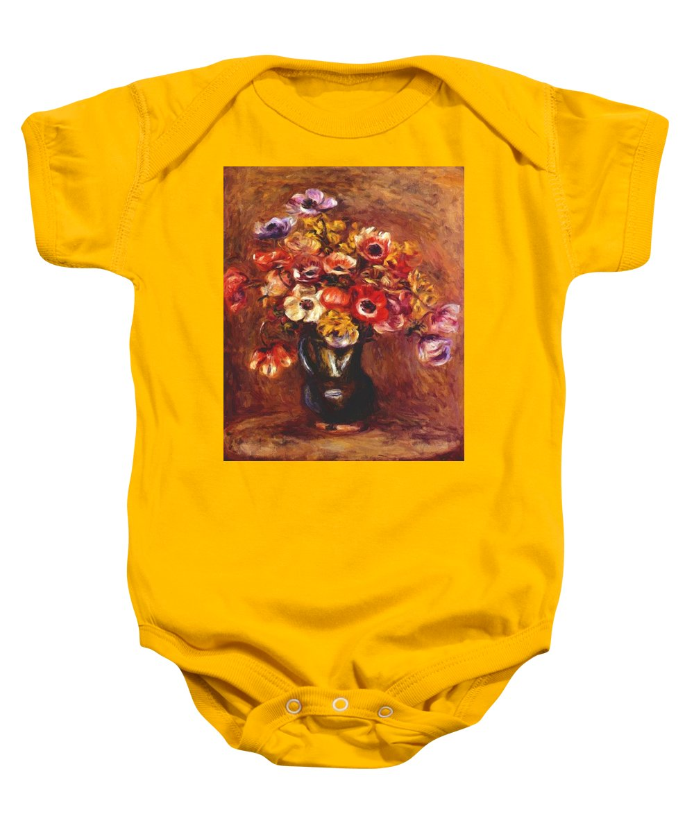Anemones Baby Onesie featuring the painting Anemones 1898 by Renoir PierreAuguste