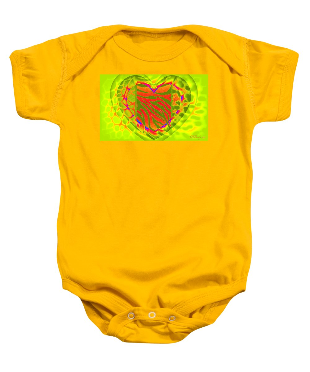 Hearts Baby Onesie featuring the digital art Animal Prints 2 by Donna Bentley