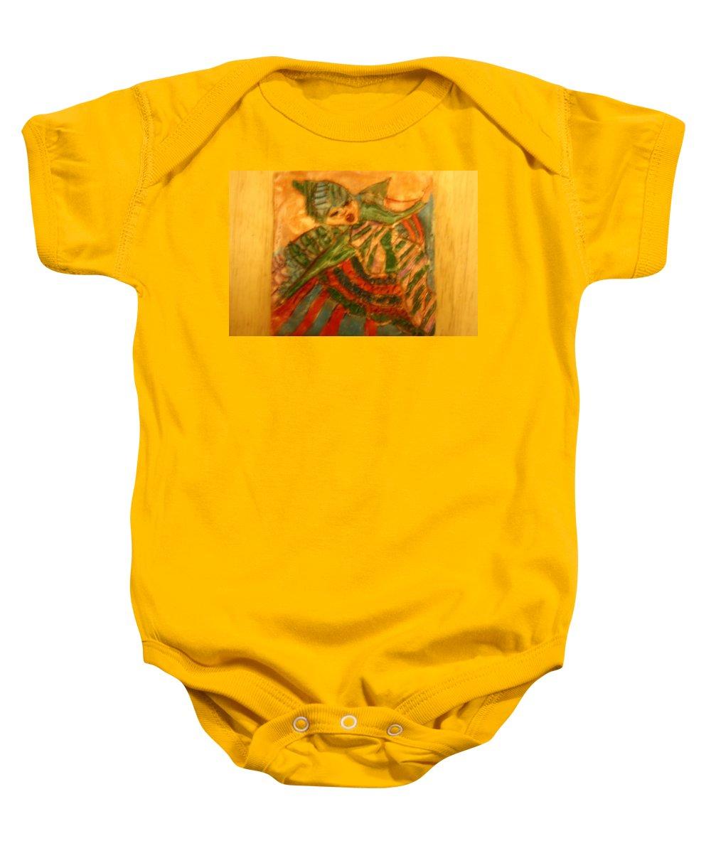 Jesus Baby Onesie featuring the ceramic art Anne - Tile by Gloria Ssali