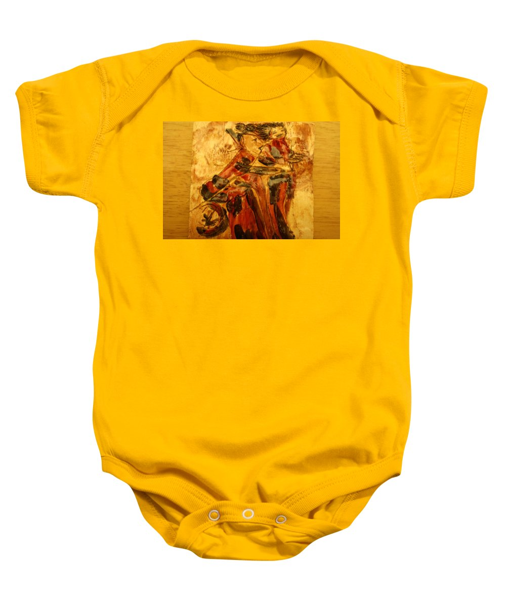 Jesus Baby Onesie featuring the ceramic art Anne And Friend - Tile by Gloria Ssali