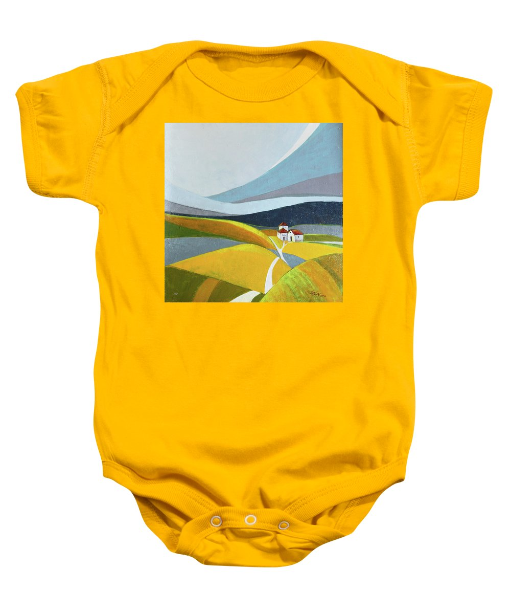 Landscape Baby Onesie featuring the painting Another Day On The Farm by Aniko Hencz