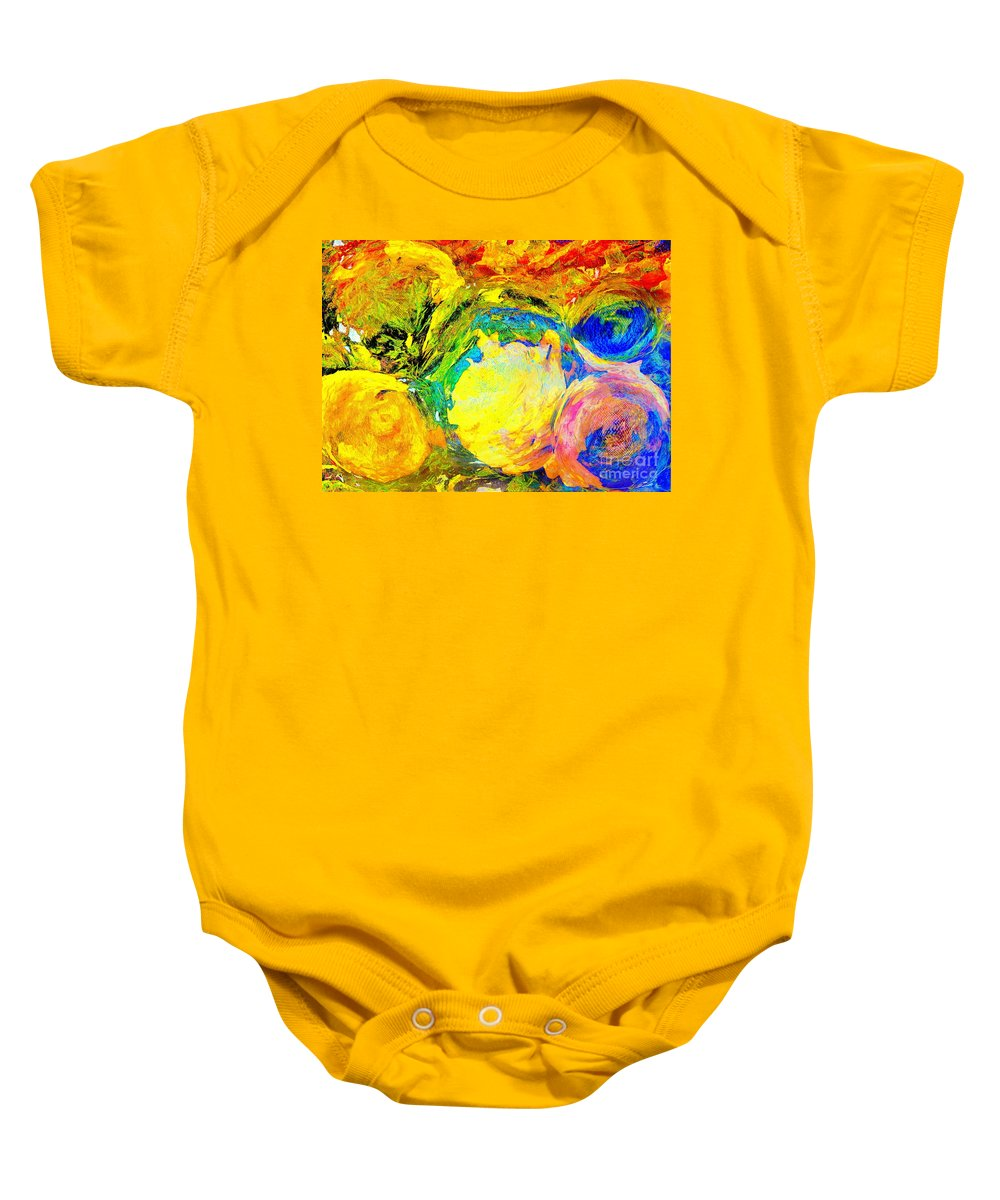 Apples And Sunshine Sureal Baby Onesie featuring the pyrography Apples And Sunshine by Yury Bashkin