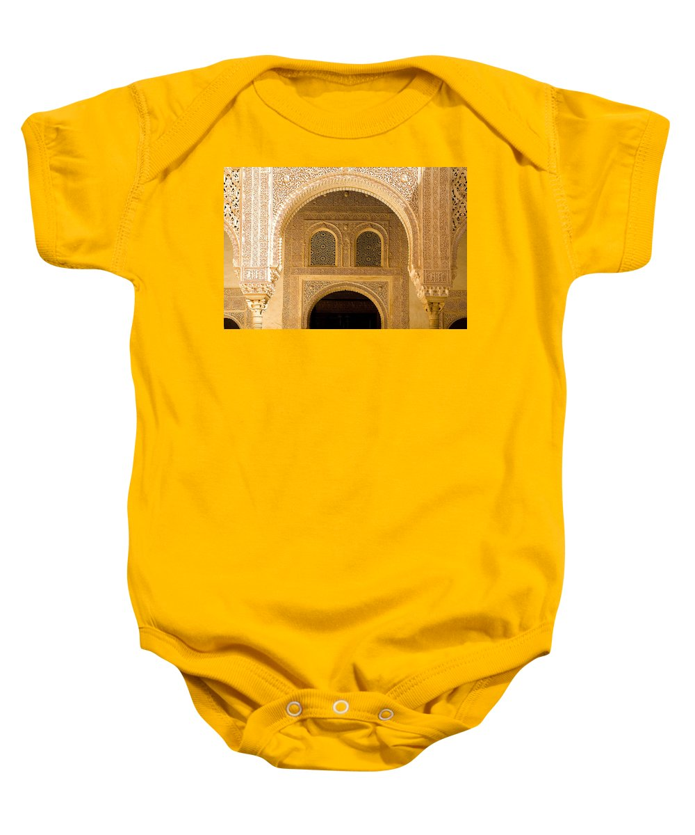 Cuarto Baby Onesie featuring the photograph Arabesque Ornamental Designs At The Casa Real In The Nasrid Palaces At The Alhambra by Mal Bray