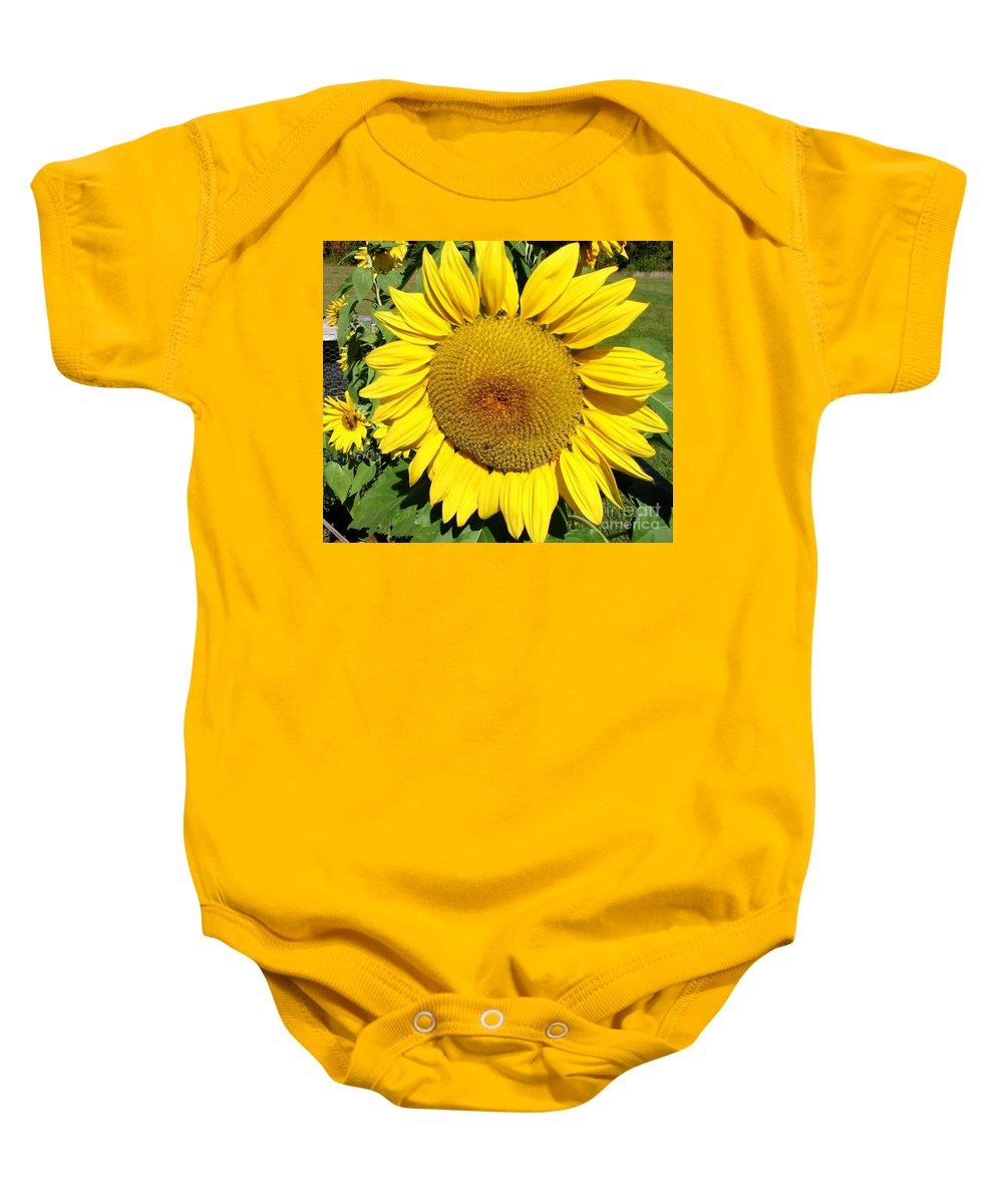 Sun Baby Onesie featuring the photograph Arikara Sunflower by Karen Sloan