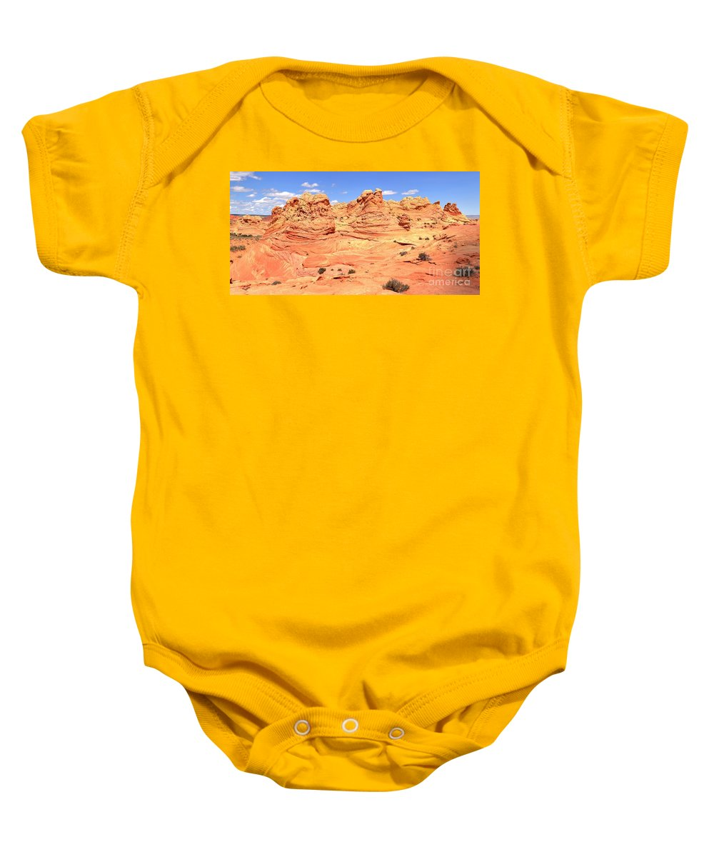 Vermilion Cliffs Panorama Baby Onesie featuring the photograph Arizona Desert Pastels by Adam Jewell