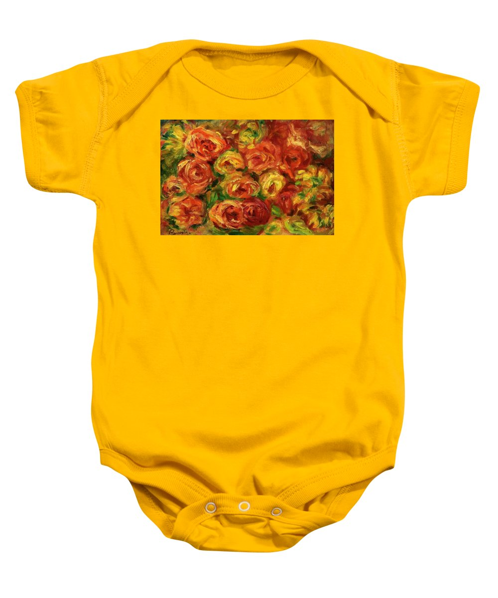 Armful Baby Onesie featuring the painting Armful Of Roses 1918 by Renoir PierreAuguste