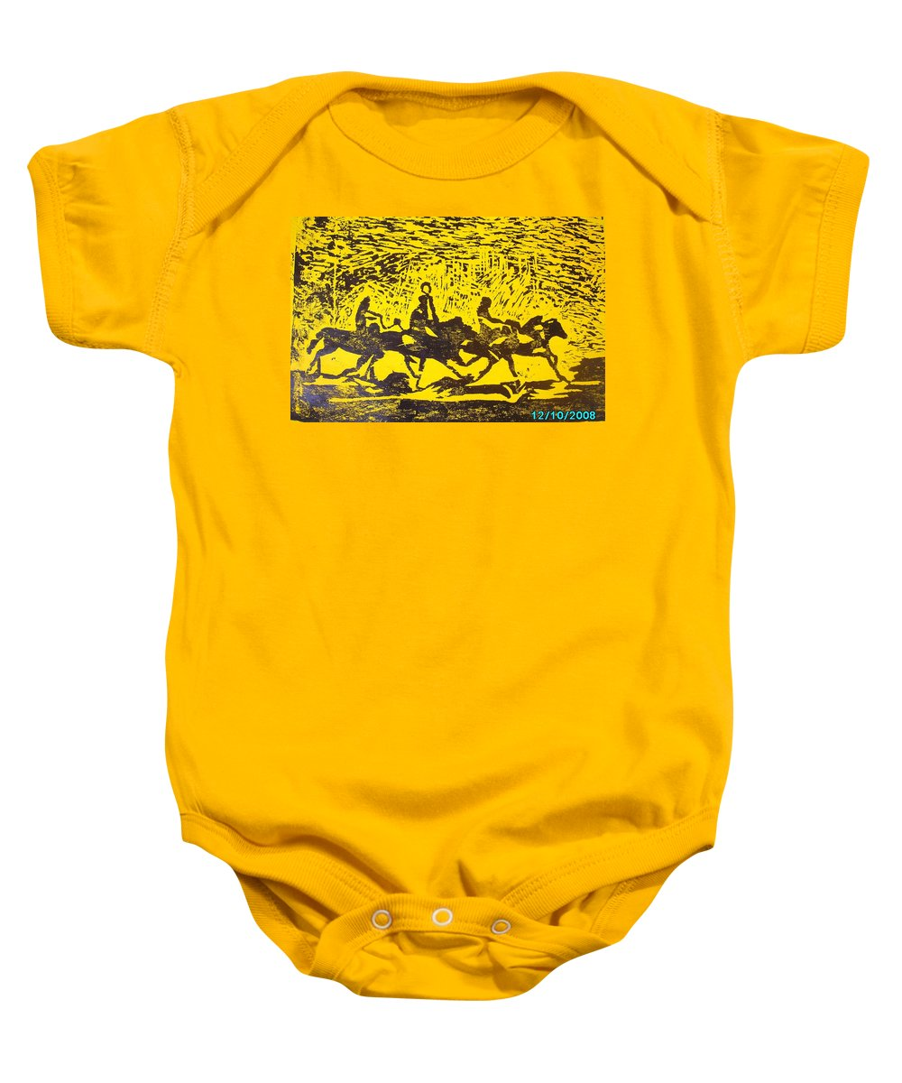 Arrival Baby Onesie featuring the mixed media Arrival by Olaoluwa Smith