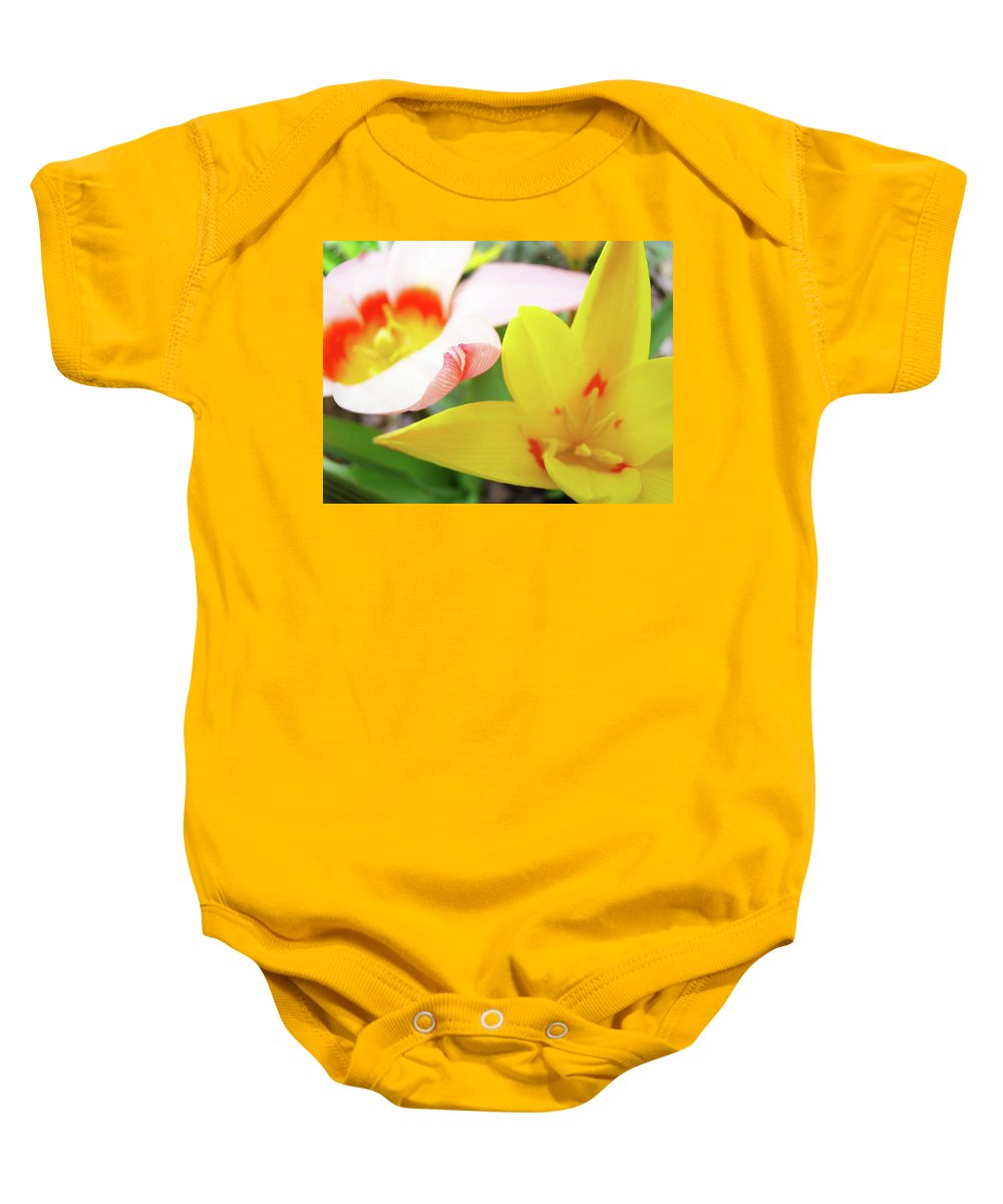 Tulip Baby Onesie featuring the photograph Art Prints Pink Tulip Yellow Tulips Giclee Prints Baslee Troutman by Baslee Troutman