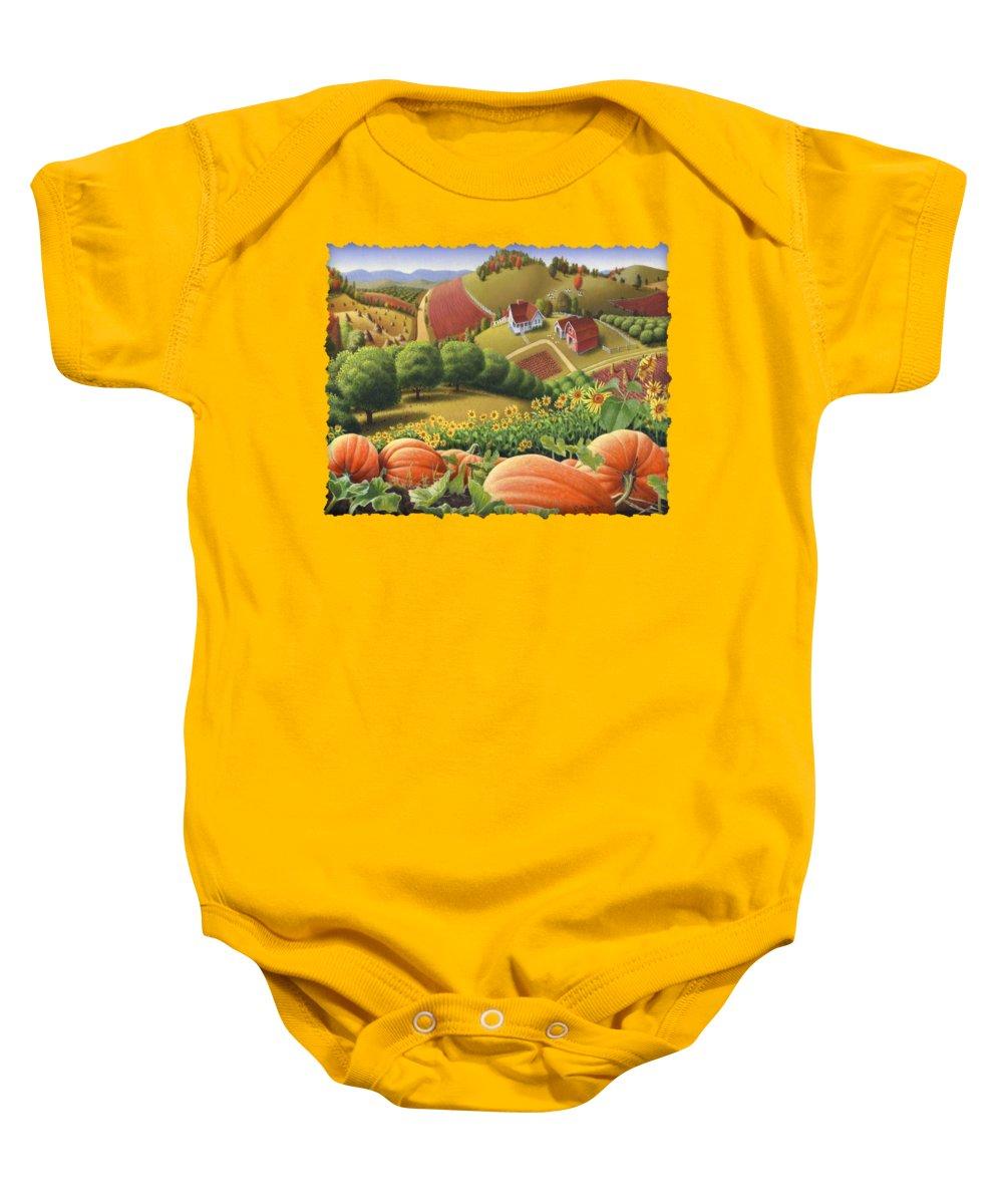 Pumpkin Baby Onesie featuring the painting Farm Landscape - Autumn Rural Country Pumpkins Folk Art - Appalachian Americana - Fall Pumpkin Patch by Walt Curlee