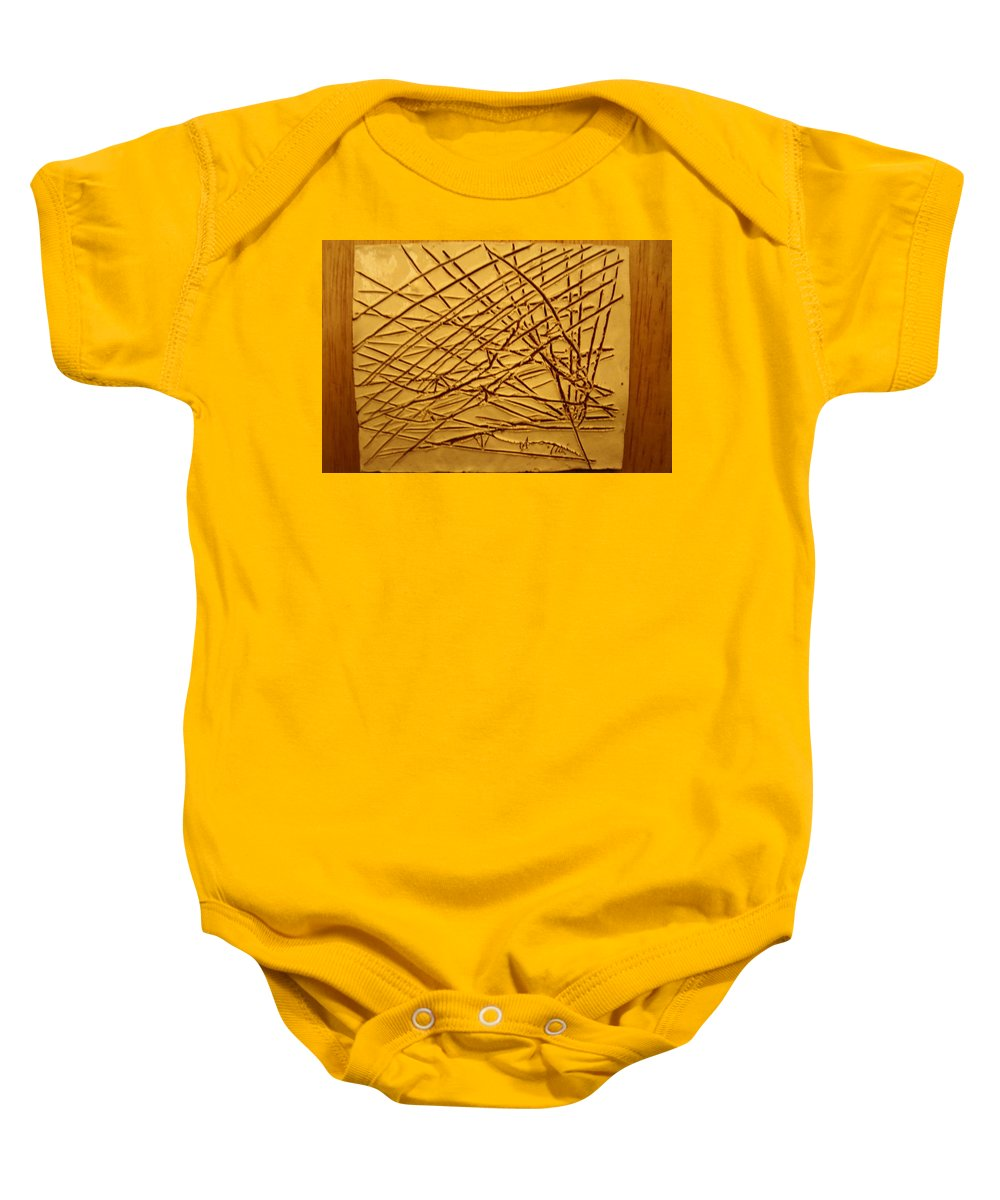 Jesus Baby Onesie featuring the ceramic art Ascending - Tile by Gloria Ssali