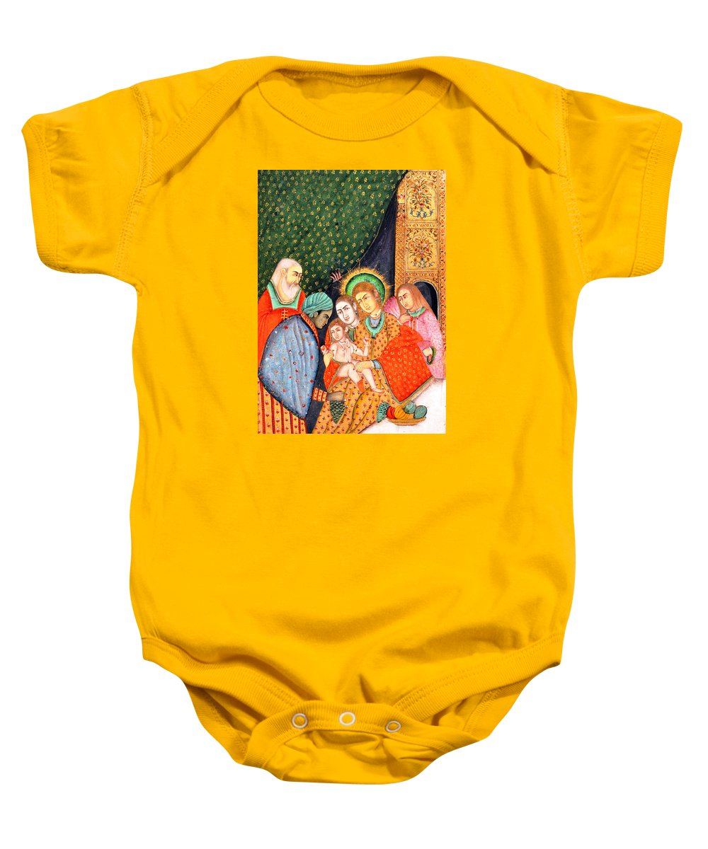 Asian Nativity Baby Onesie featuring the painting Asian Nativity by Munir Alawi