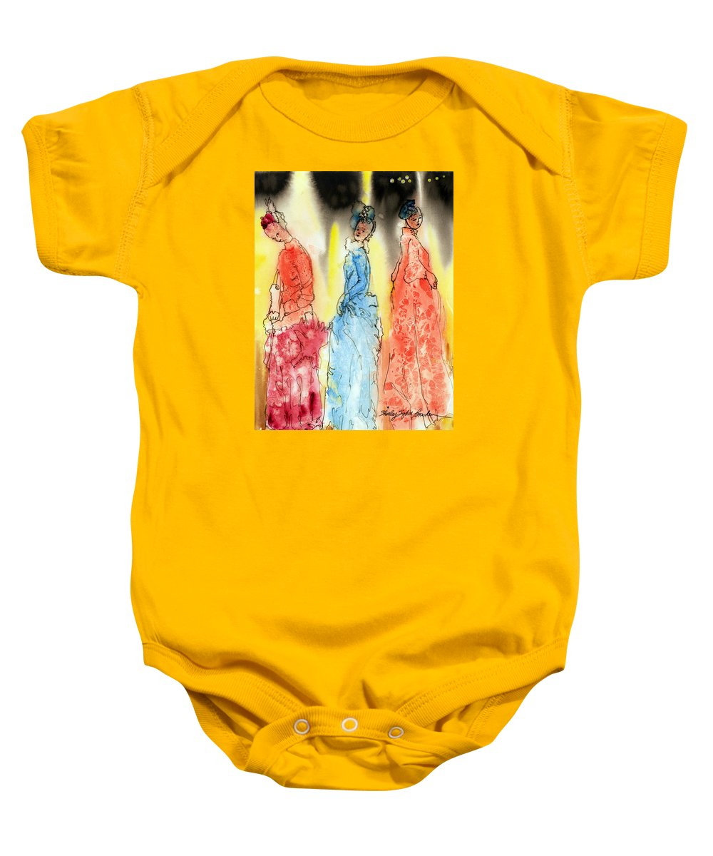 Geisha Baby Onesie featuring the painting Asian Three by Shirley Sykes Bracken