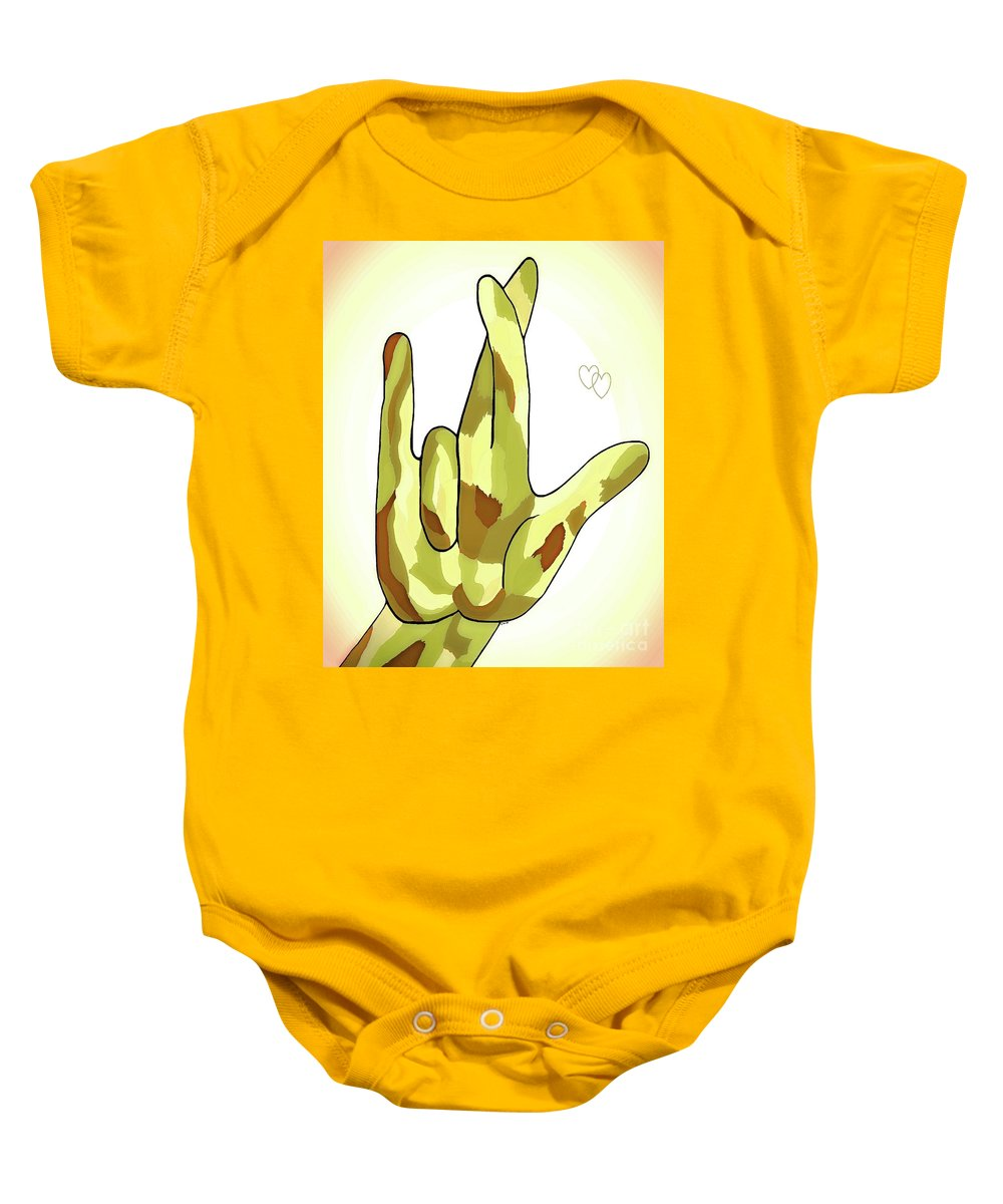 Asl Baby Onesie featuring the painting Asl I Really Love You Camouflage by Eloise Schneider Mote