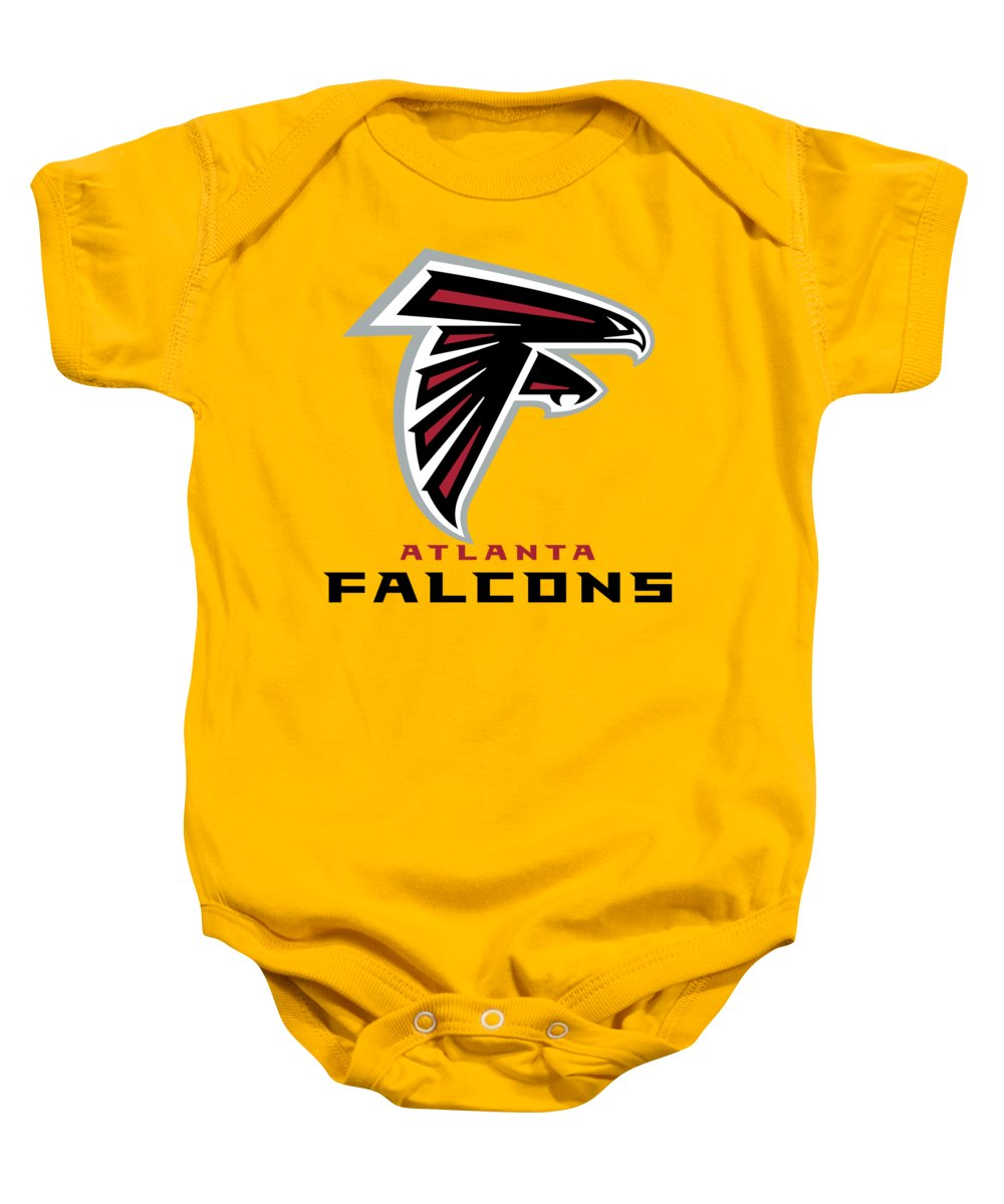 Atlanta Baby Onesie featuring the mixed media Atlanta Falcons On An Abraded Steel Texture by Movie Poster Prints