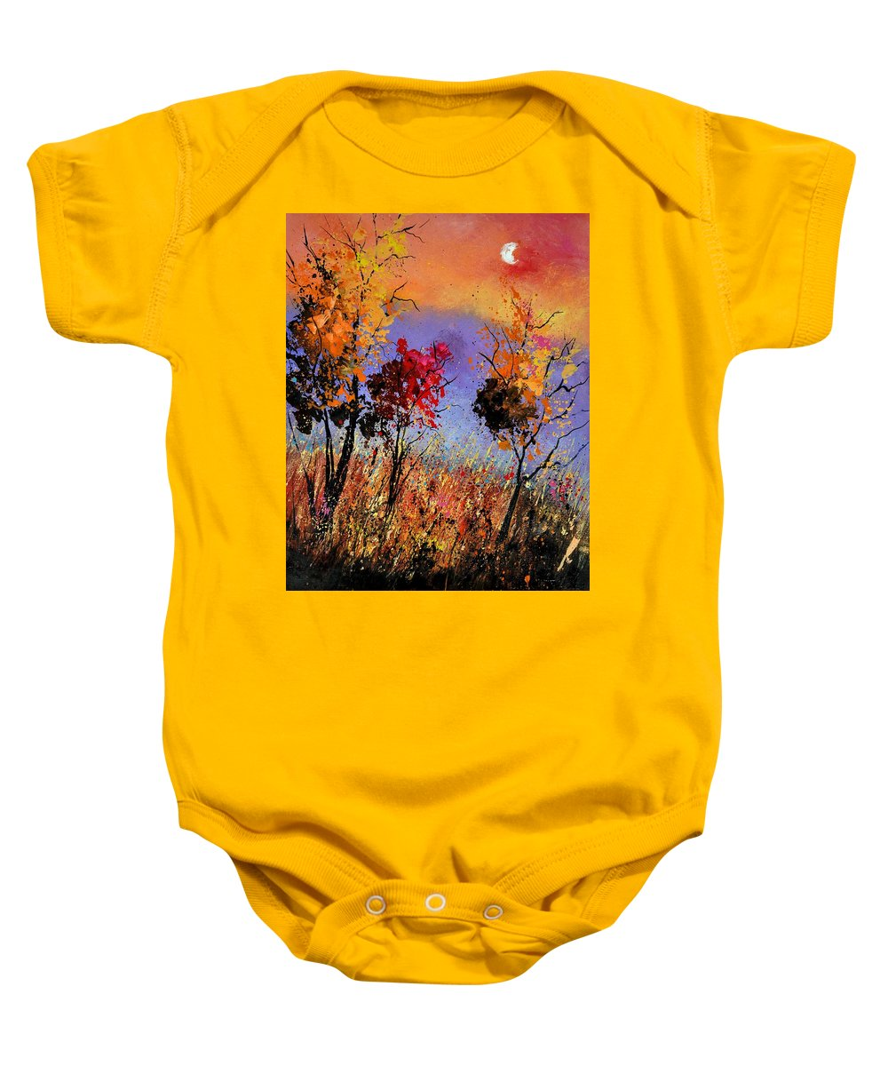 Landscape Baby Onesie featuring the painting Autumn 451110 by Pol Ledent