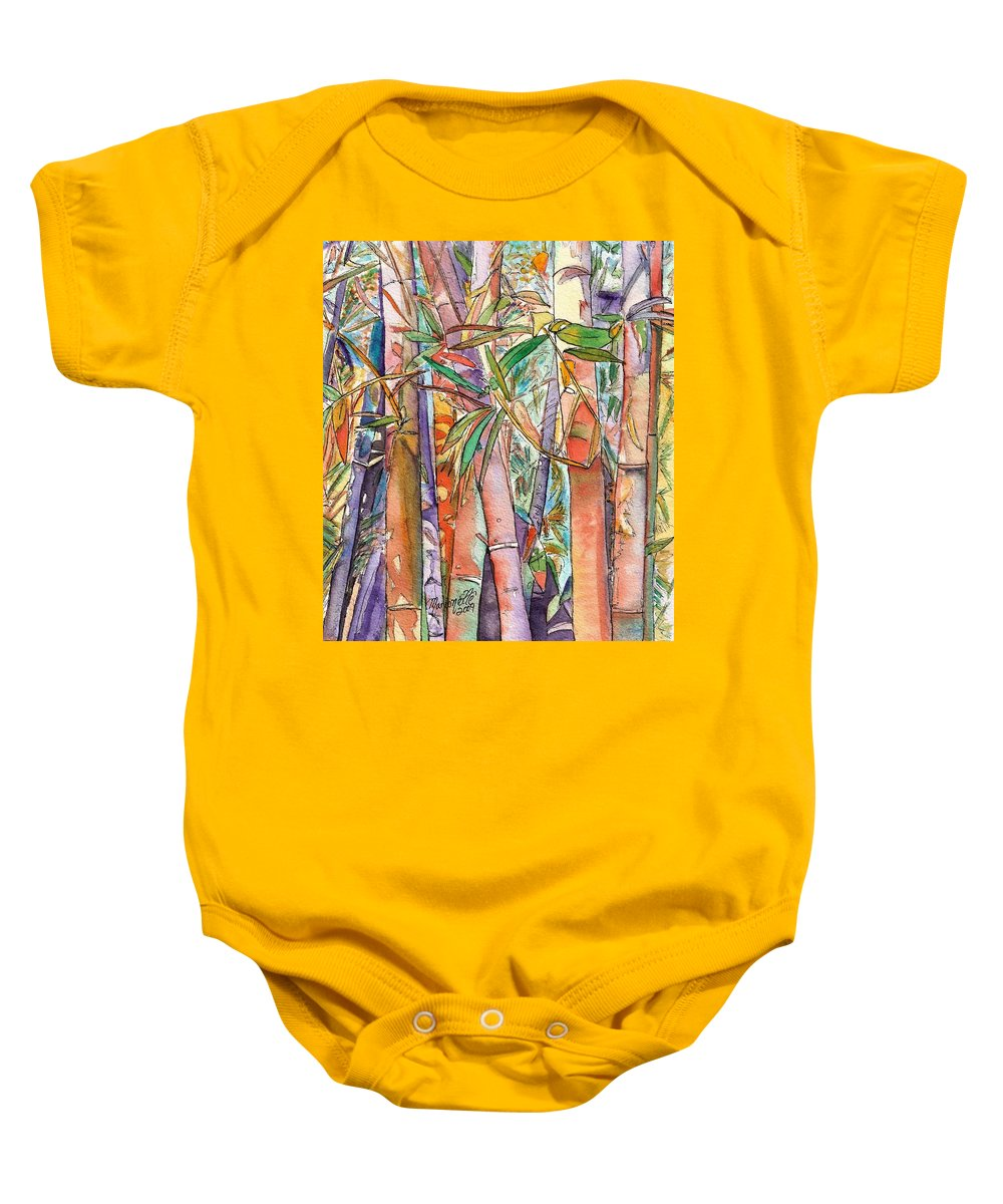 Bamboo Baby Onesie featuring the painting Autumn Bamboo by Marionette Taboniar