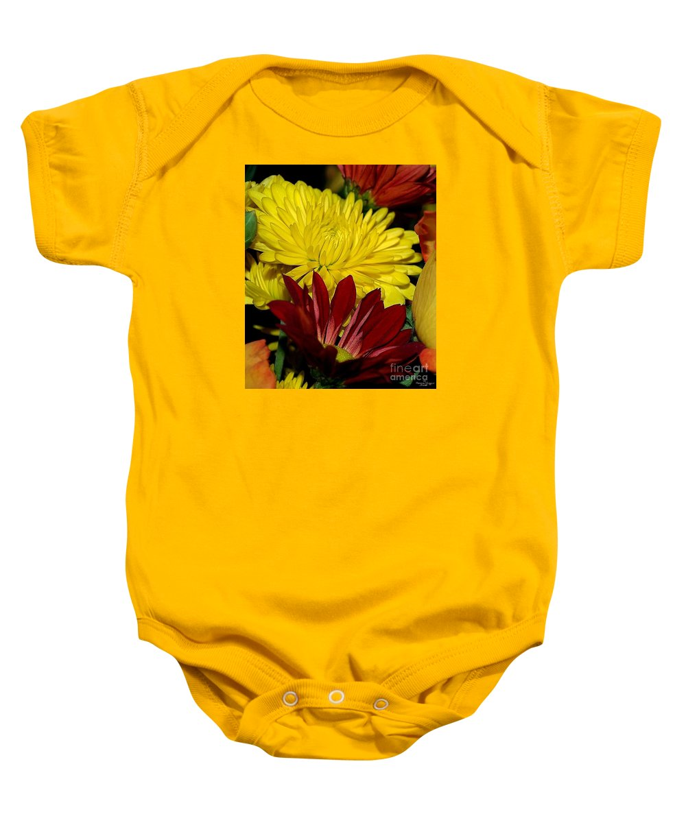 Chrysanthemum Photography Baby Onesie featuring the photograph Autumn Colors by Patricia Griffin Brett