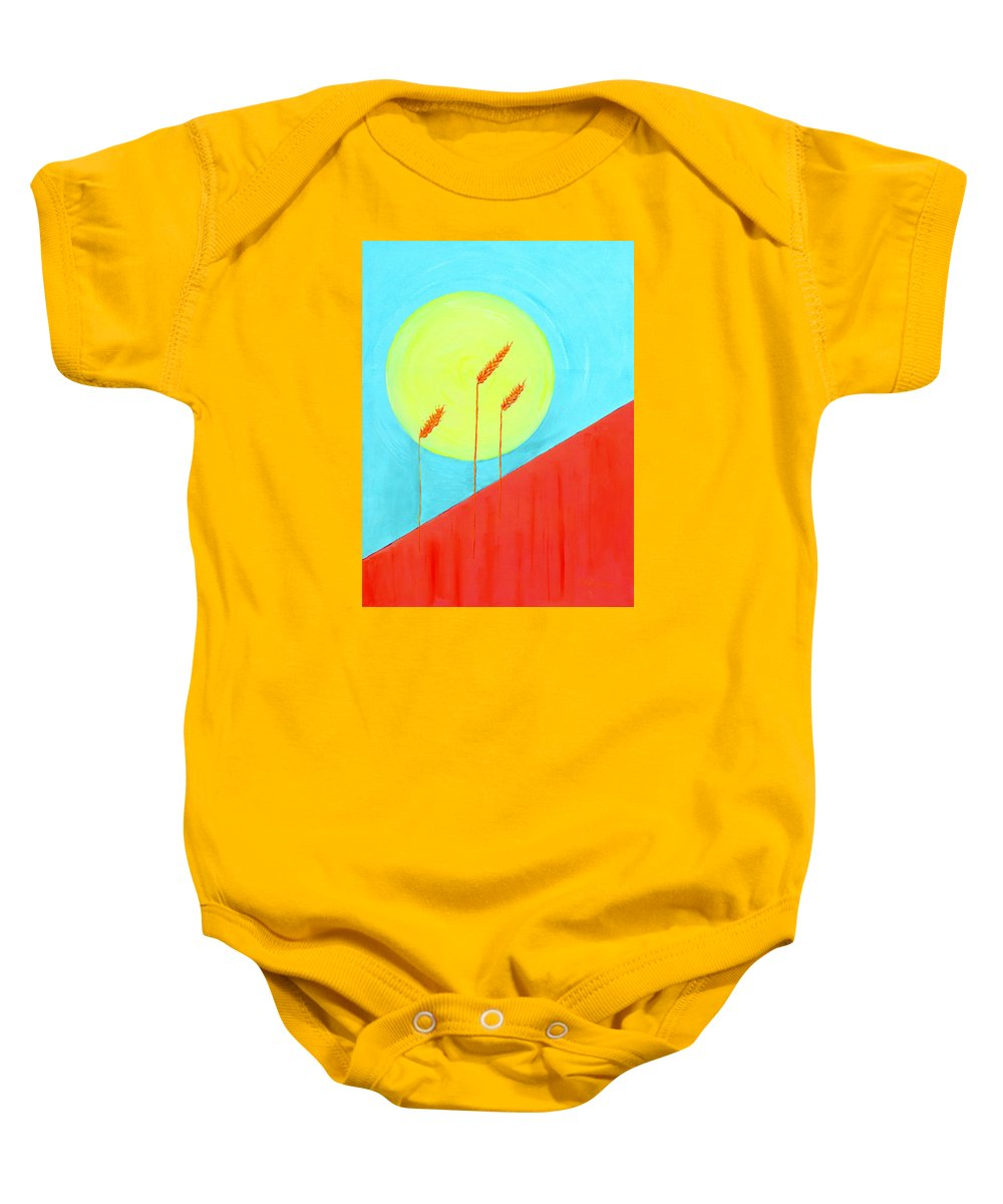 Landscape Baby Onesie featuring the painting Autumn Harvest by J R Seymour