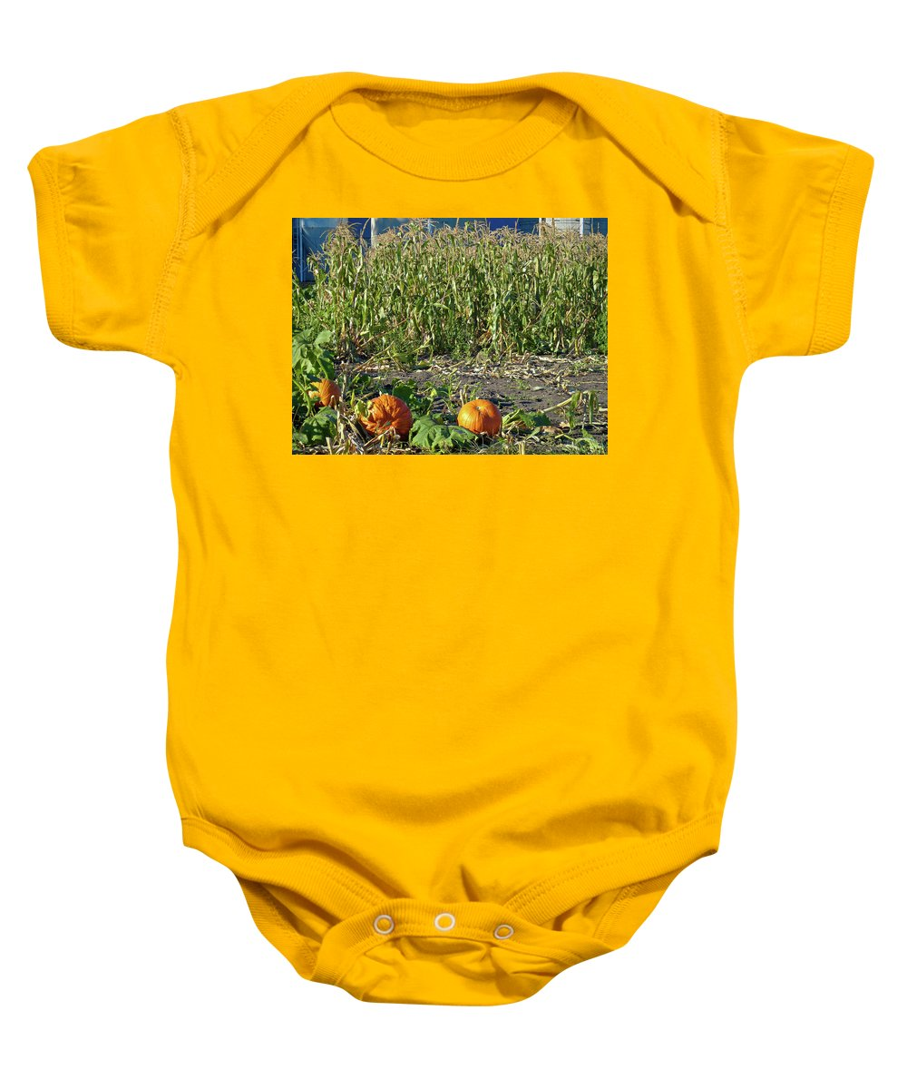 Autumn Baby Onesie featuring the photograph Autumn Harvest by Robert Meyers-Lussier