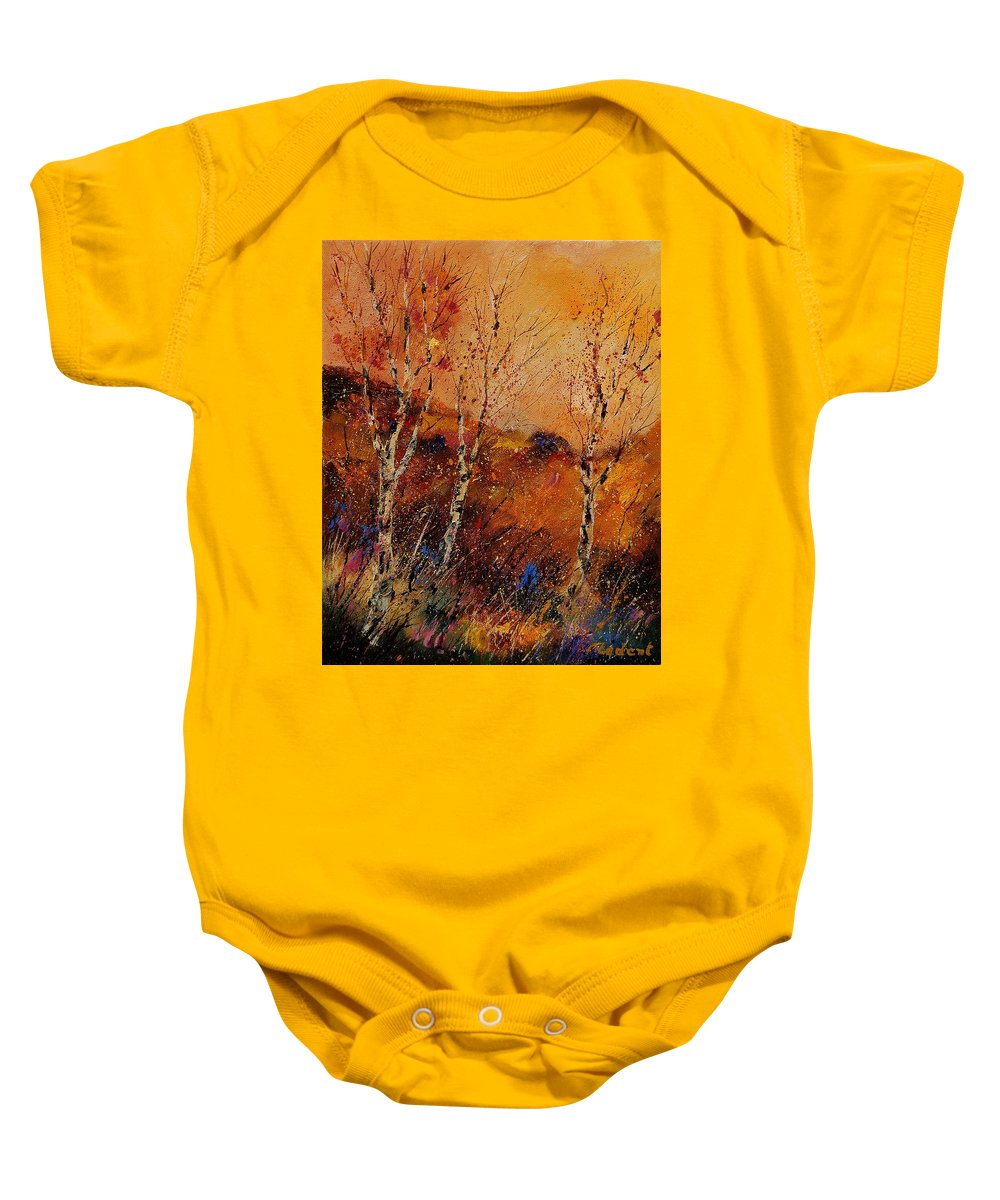 Tree Baby Onesie featuring the painting Autumn Landscape 45 by Pol Ledent