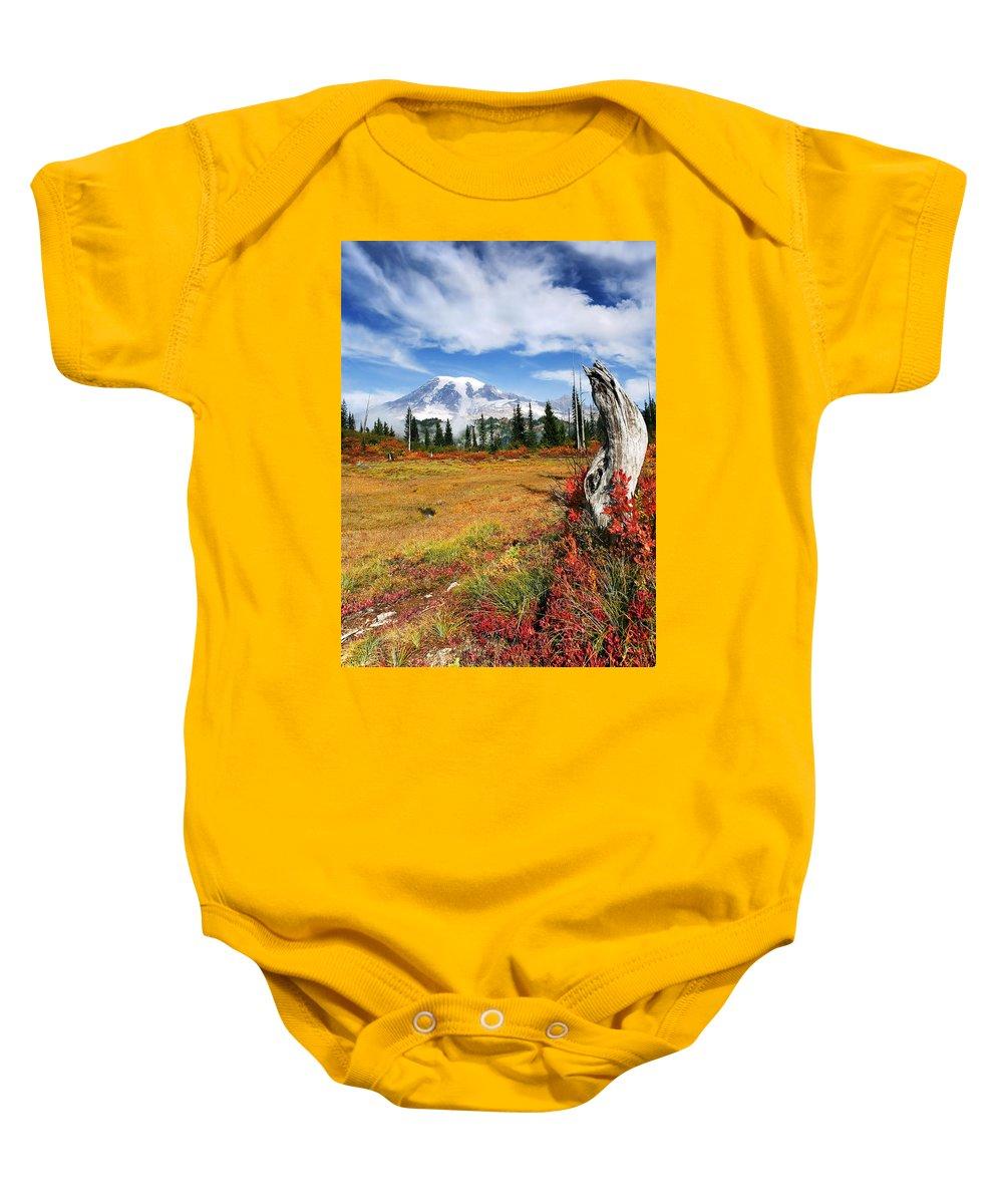 Rainier Baby Onesie featuring the photograph Autumn Majesty by Mike Dawson