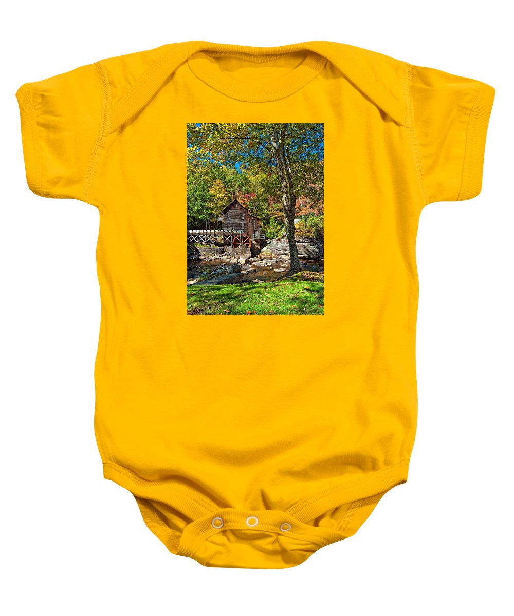 West Virginia Baby Onesie featuring the photograph Autumn Mill 2 by Steve Harrington