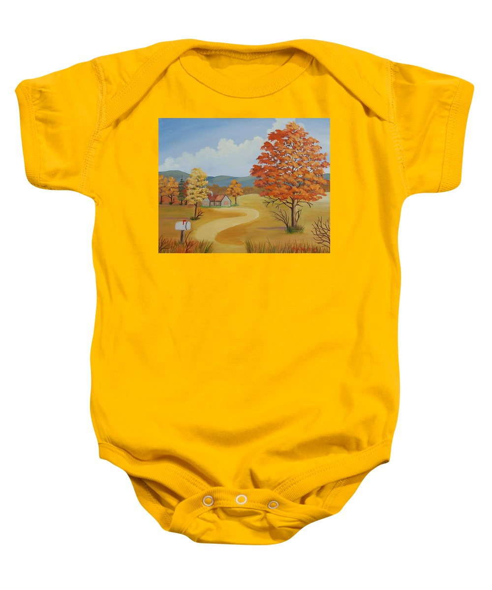 Landscape Baby Onesie featuring the painting Autumn Season by Ruth Housley