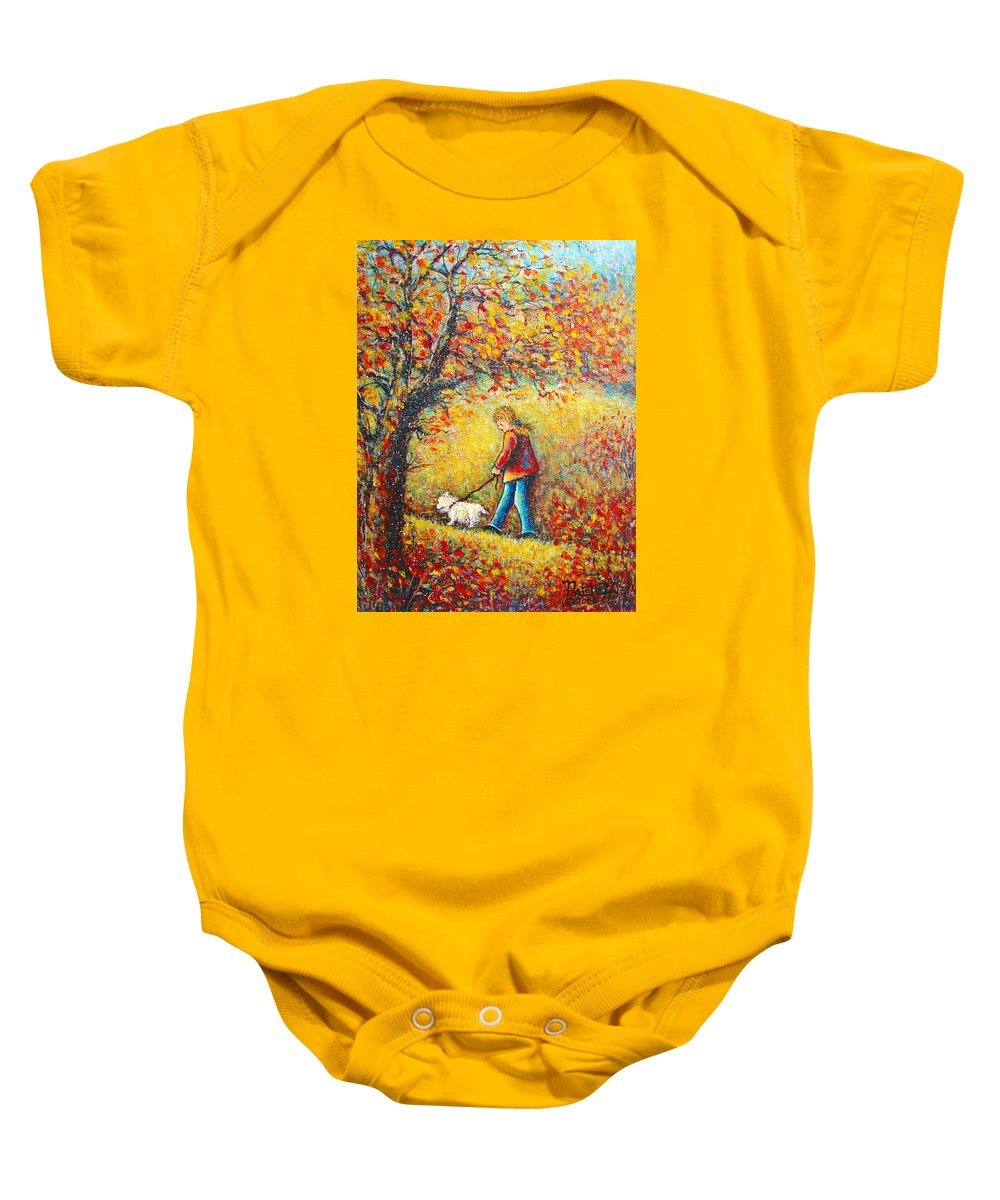 Landscape Baby Onesie featuring the painting Autumn Walk by Natalie Holland